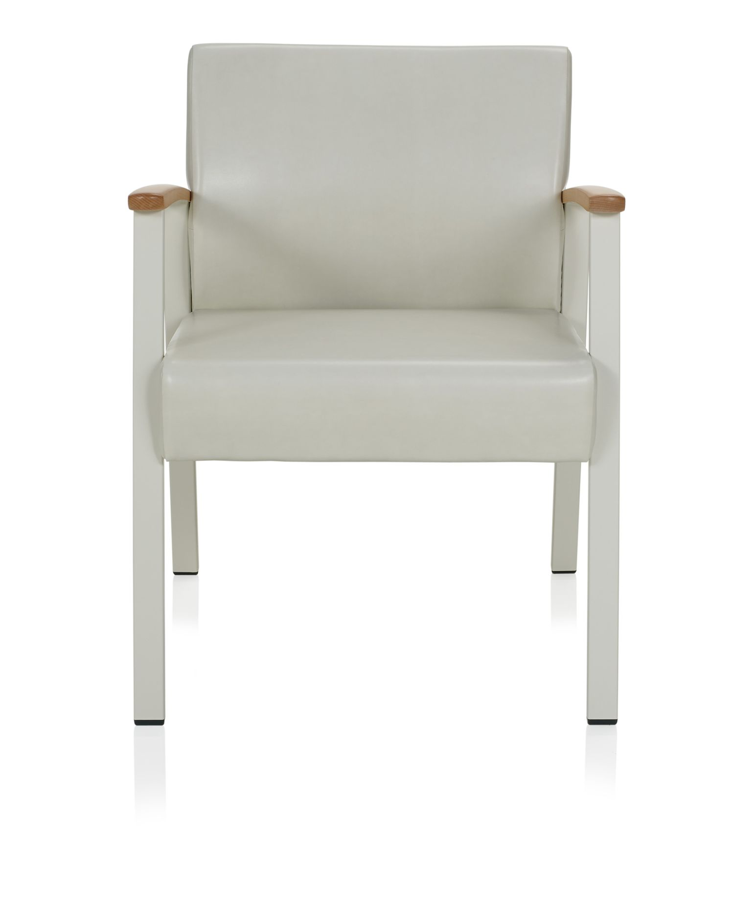 ki solstice guest chair with metal legs and wood armcaps