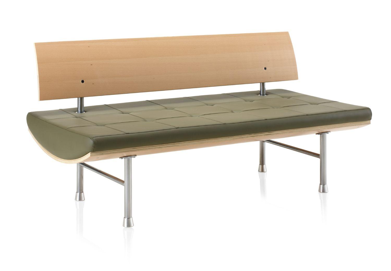 ki kurv leather reception bench with wood back