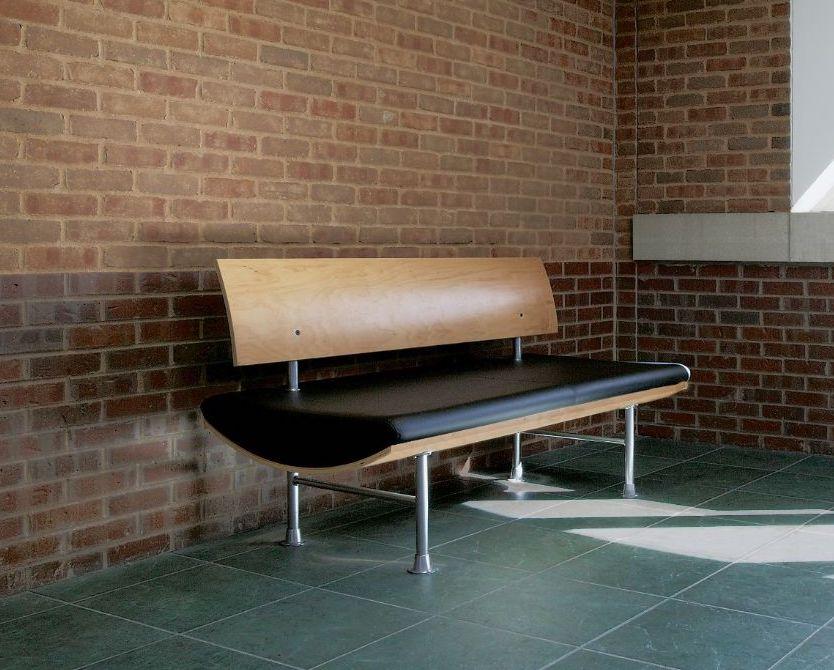 ki kurv series black leather bench with natural wood back
