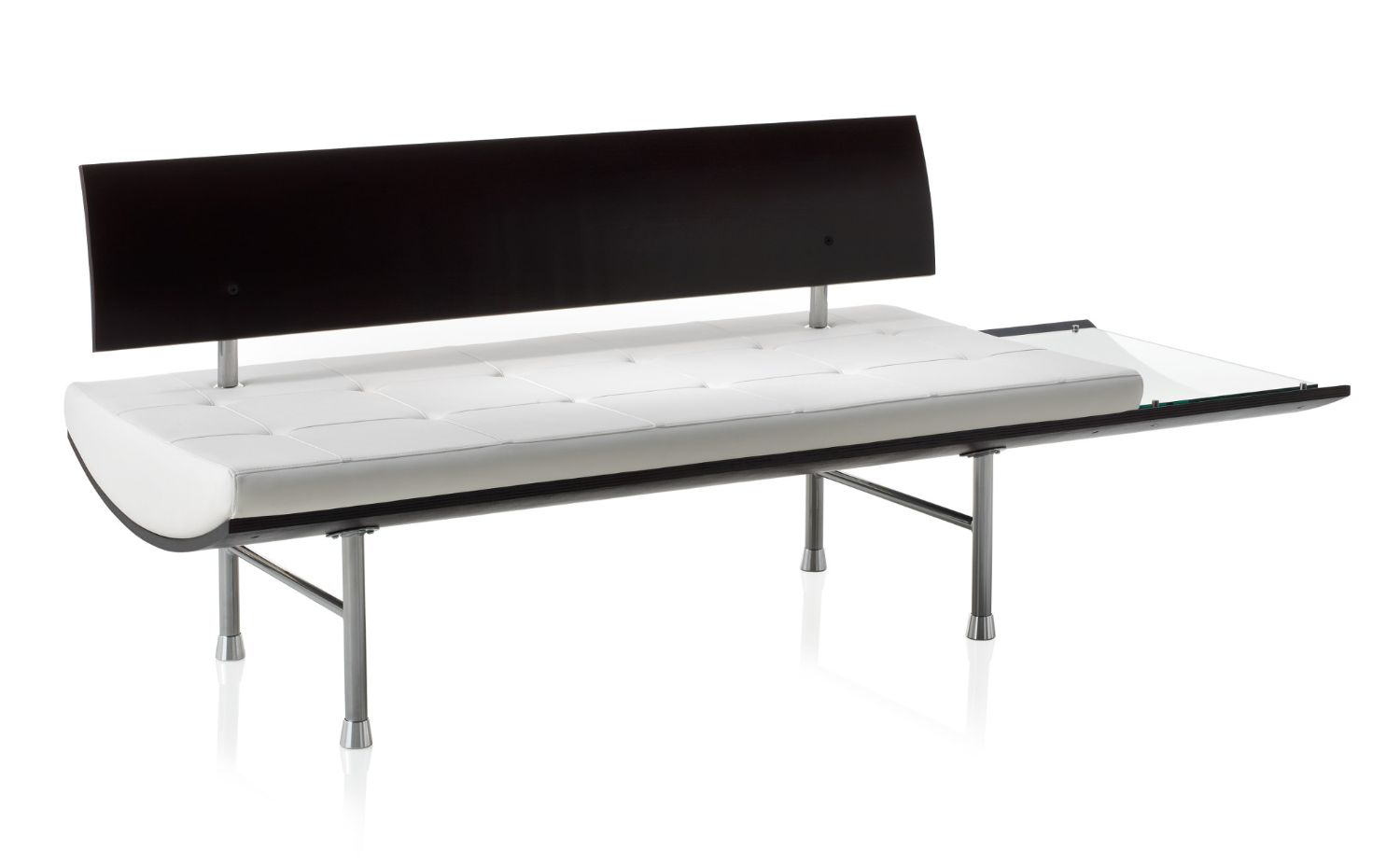 ki kurv tufted leather bench with wood back and glass side table