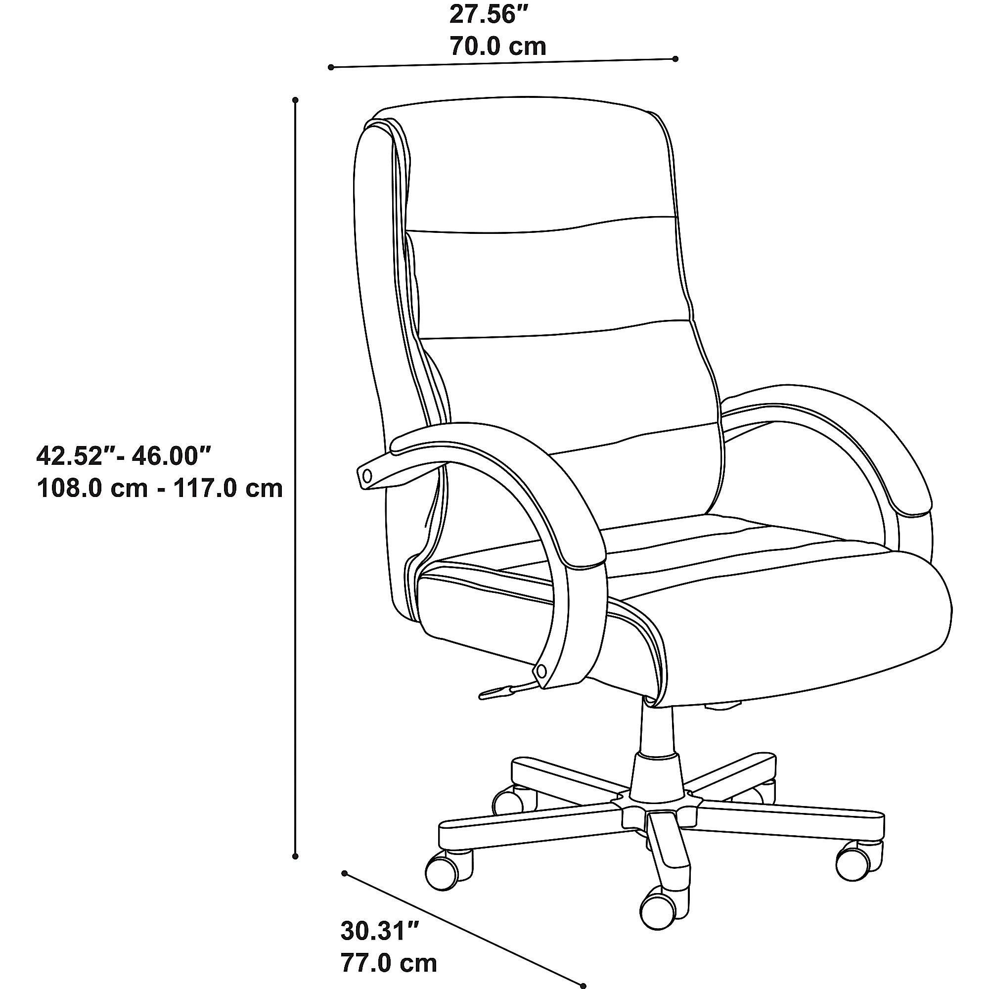 bush business furniture soft sense high back executive chair dimensions