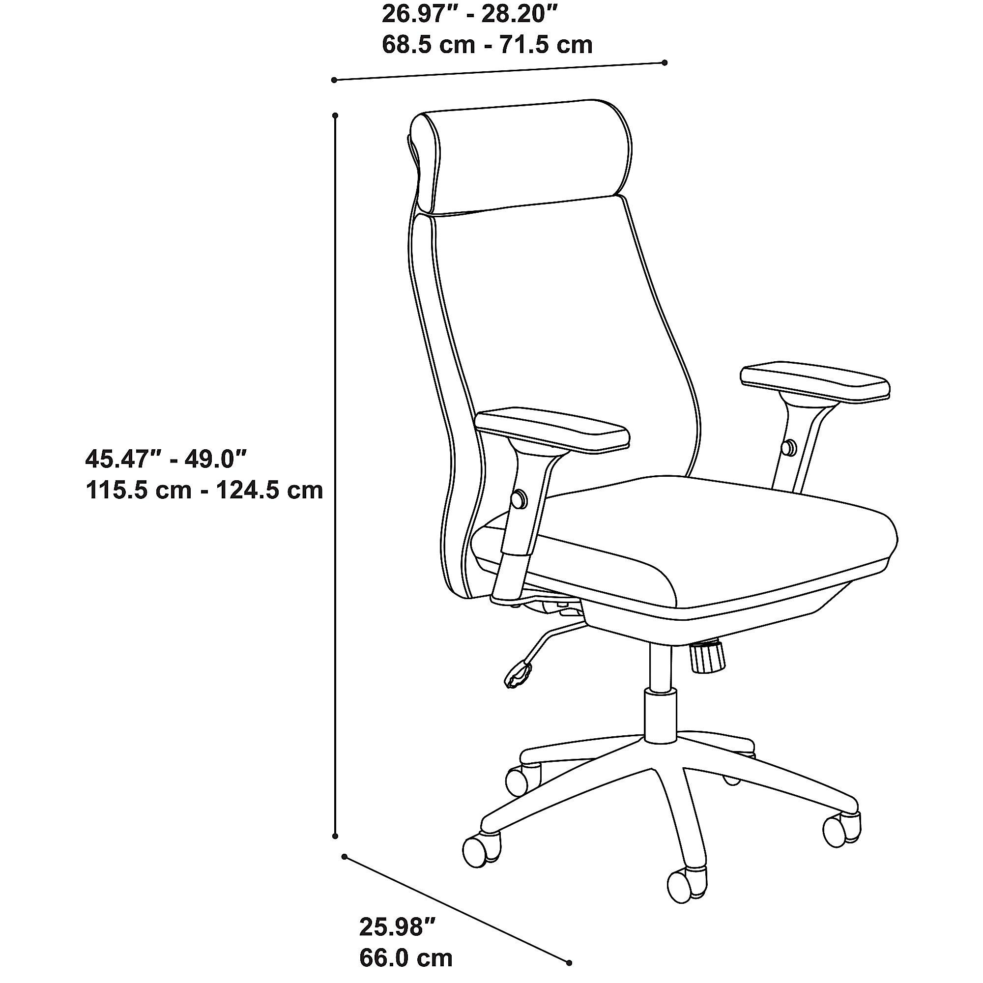 bush business furniture metropolis office chair dimensions