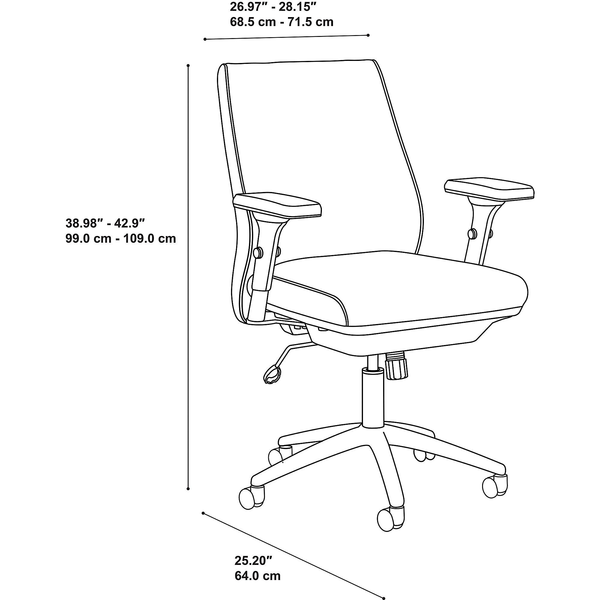 bush business furniture metropolis mid back chair dimensions