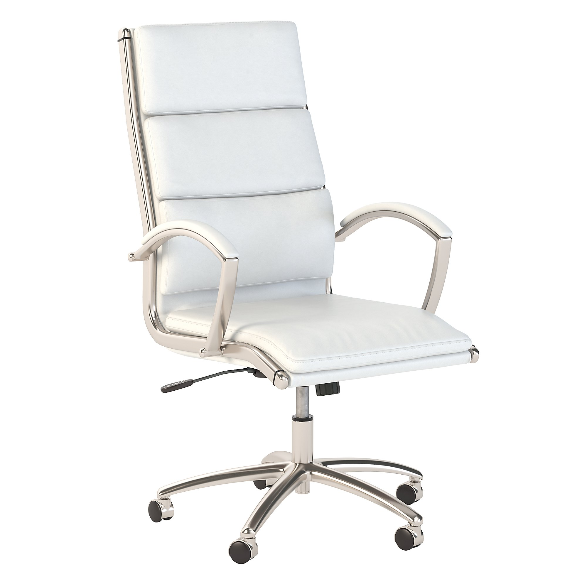 bush business furniture white leather modelo chair