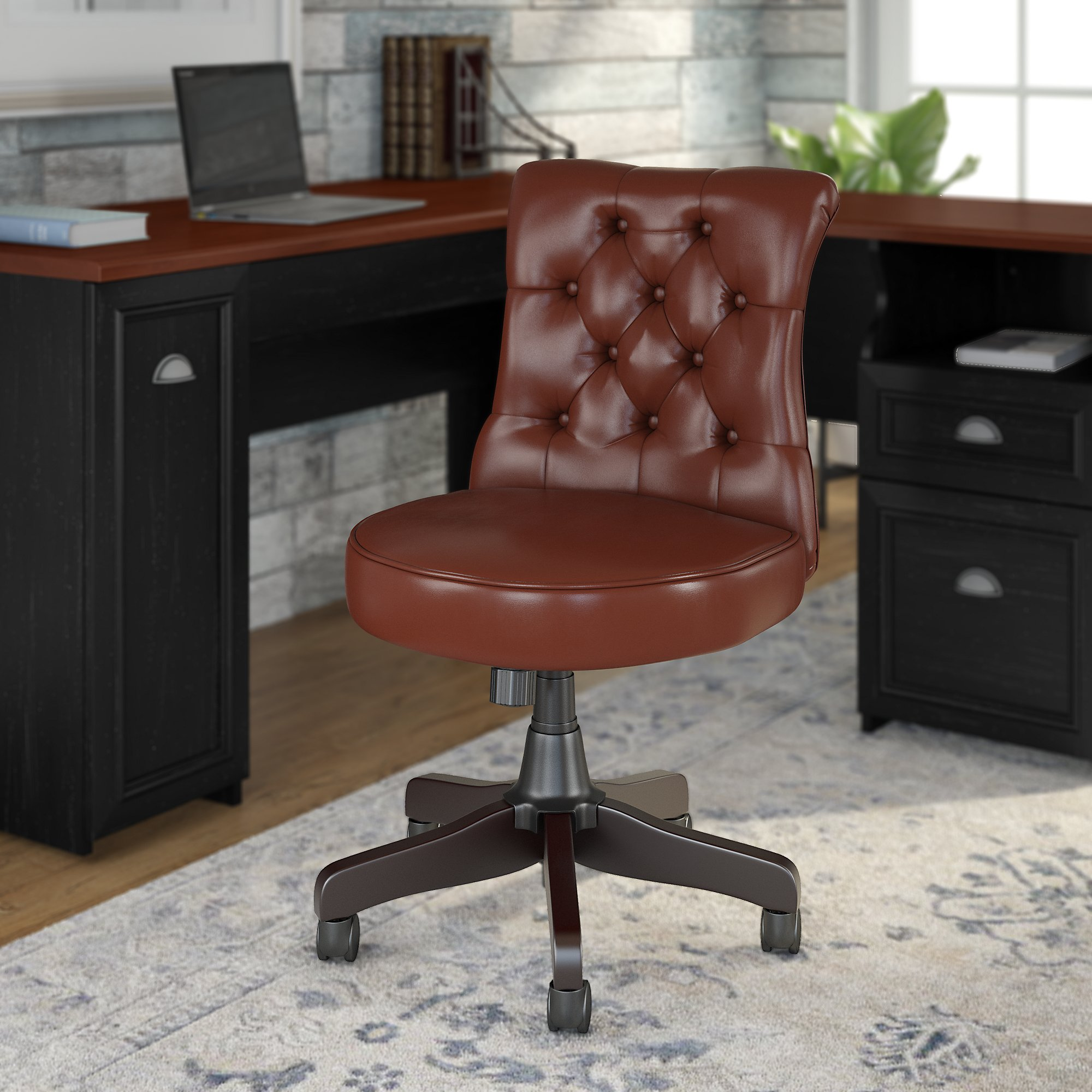 bush business furniture arden lane chair in harvest cherry leather