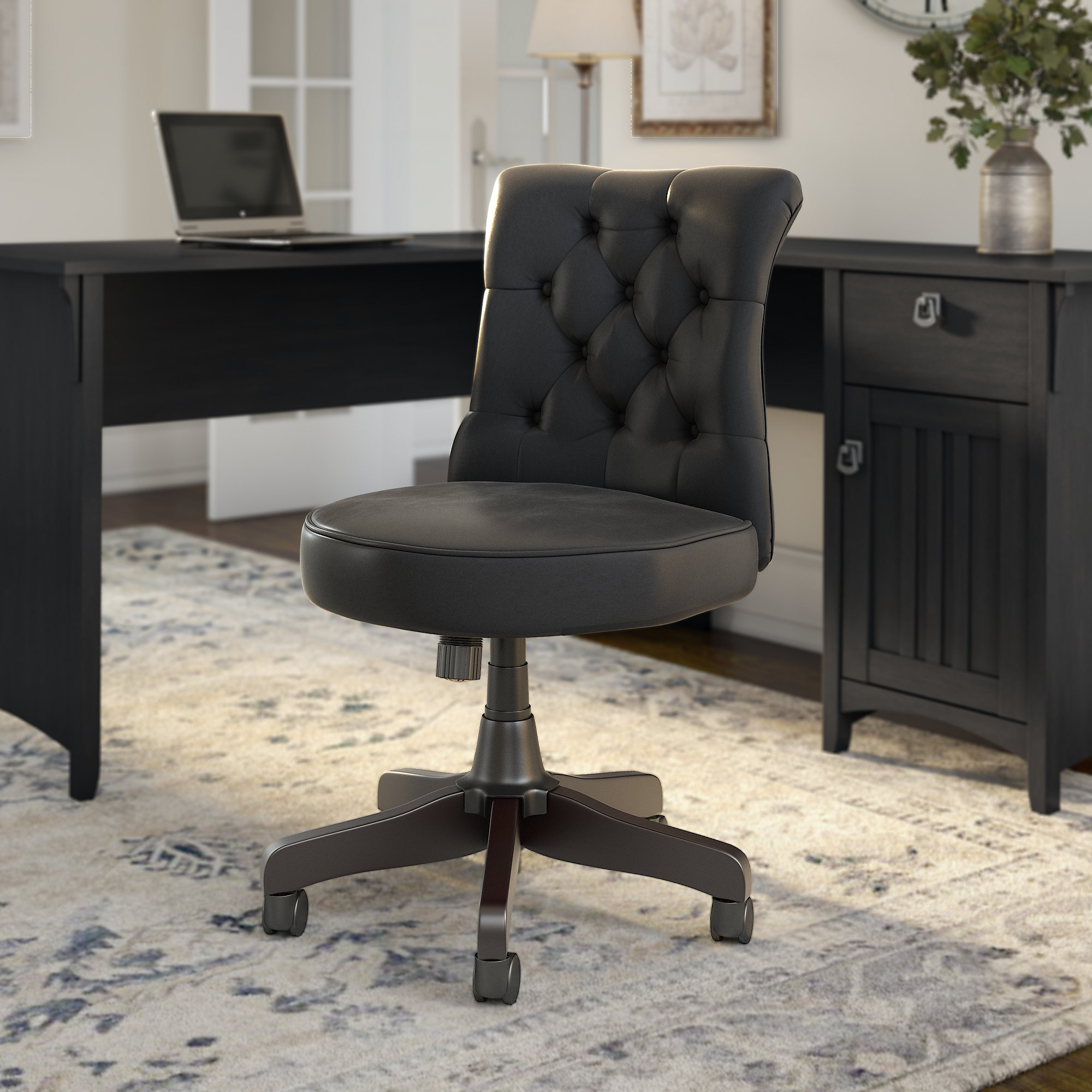 bush business furniture arden lane chair in black leather