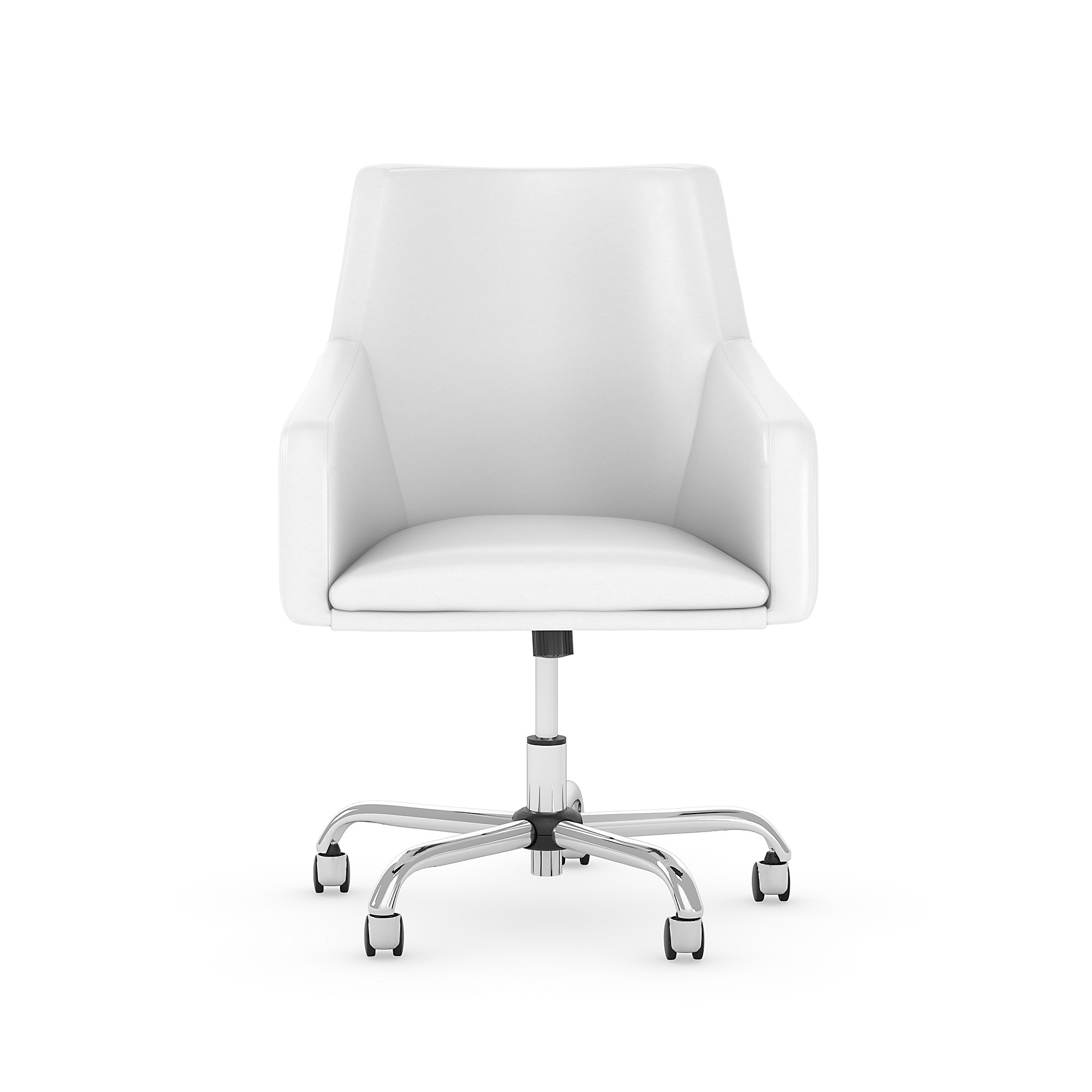 london white leather office chair