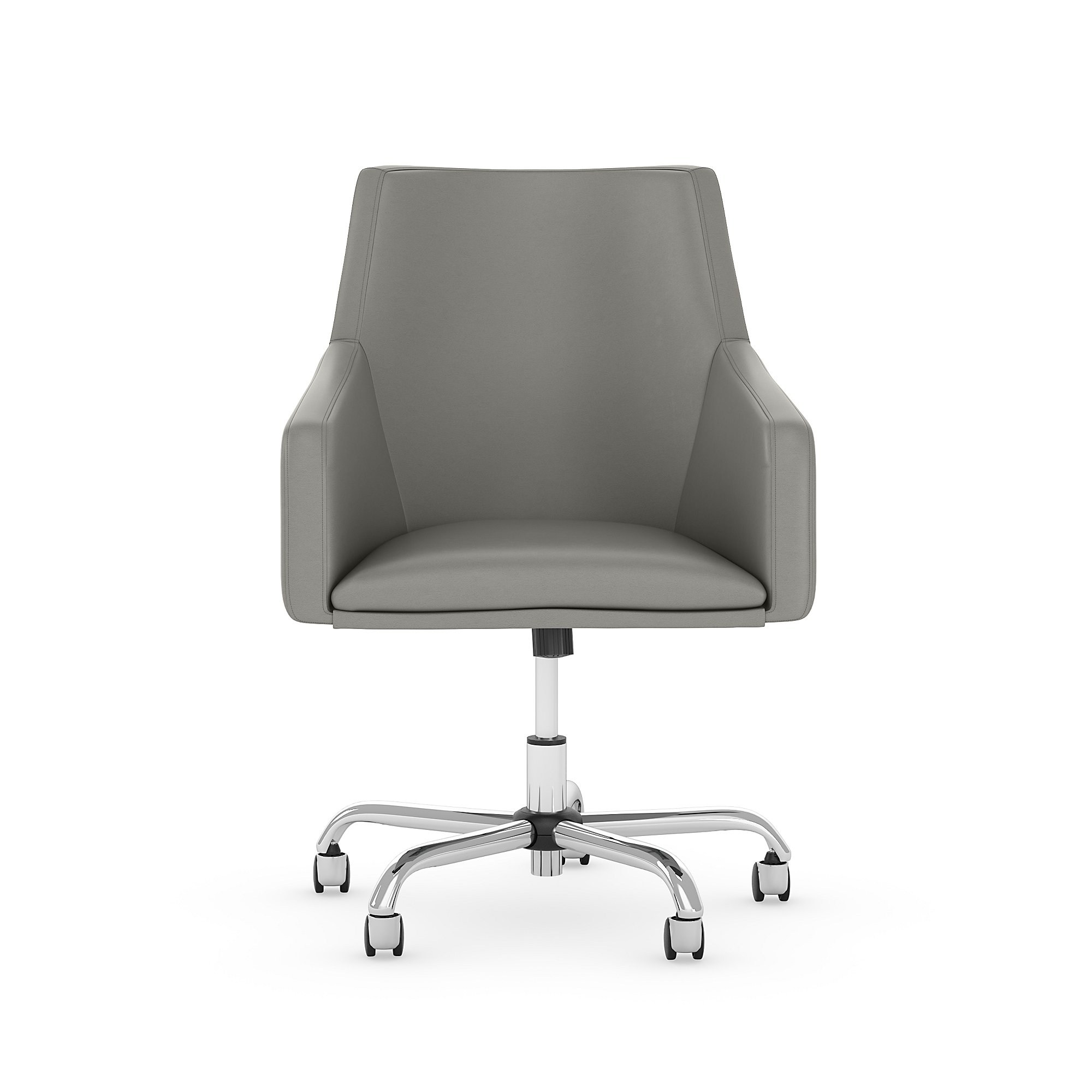 london light gray leather office chair