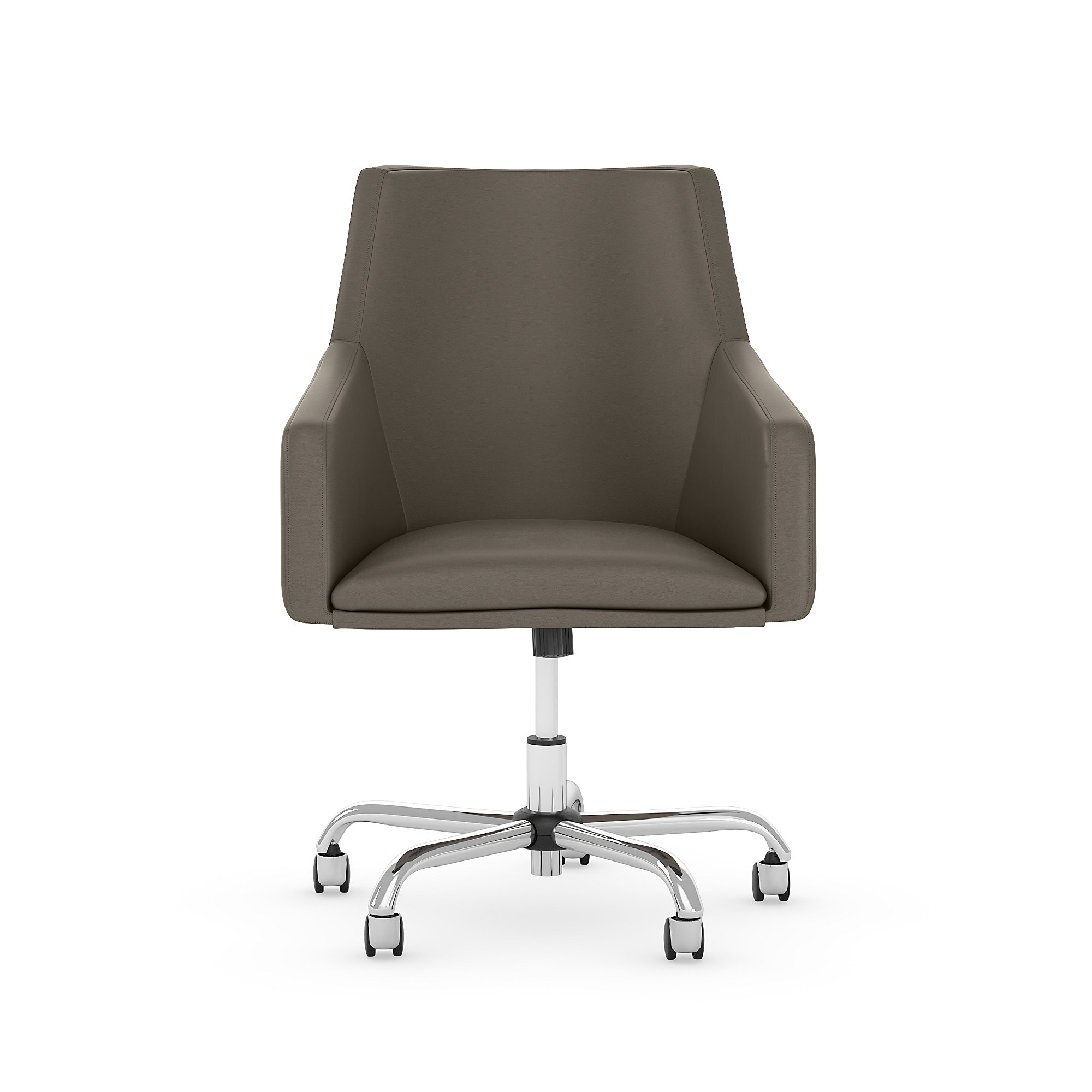 london washed gray leather office chair