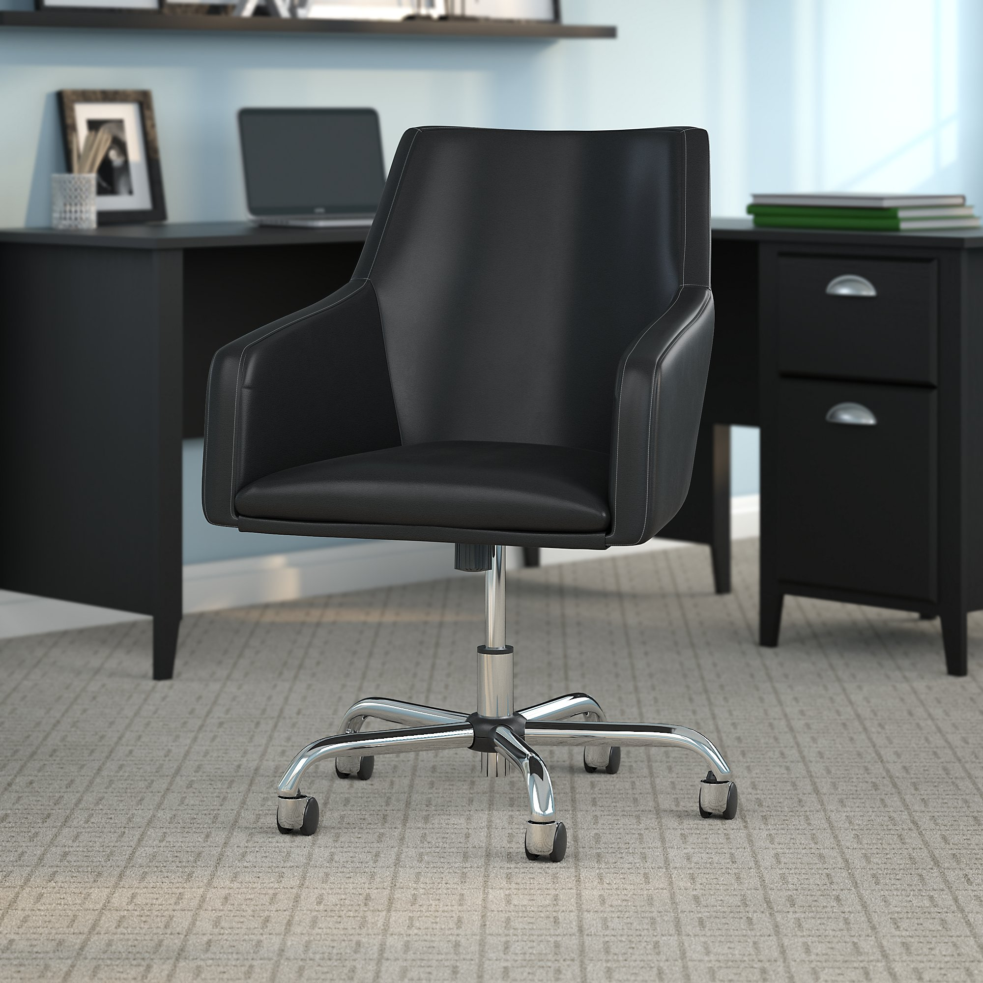 bush business furniture london leather box chair in black
