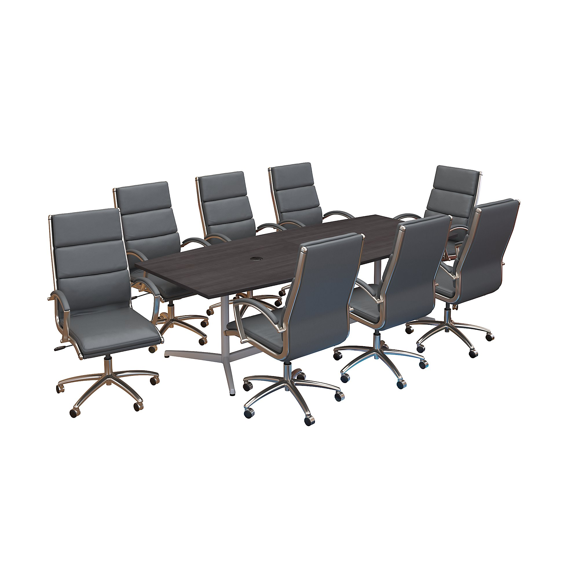 bush business furniture conference table and chair set in storm gray