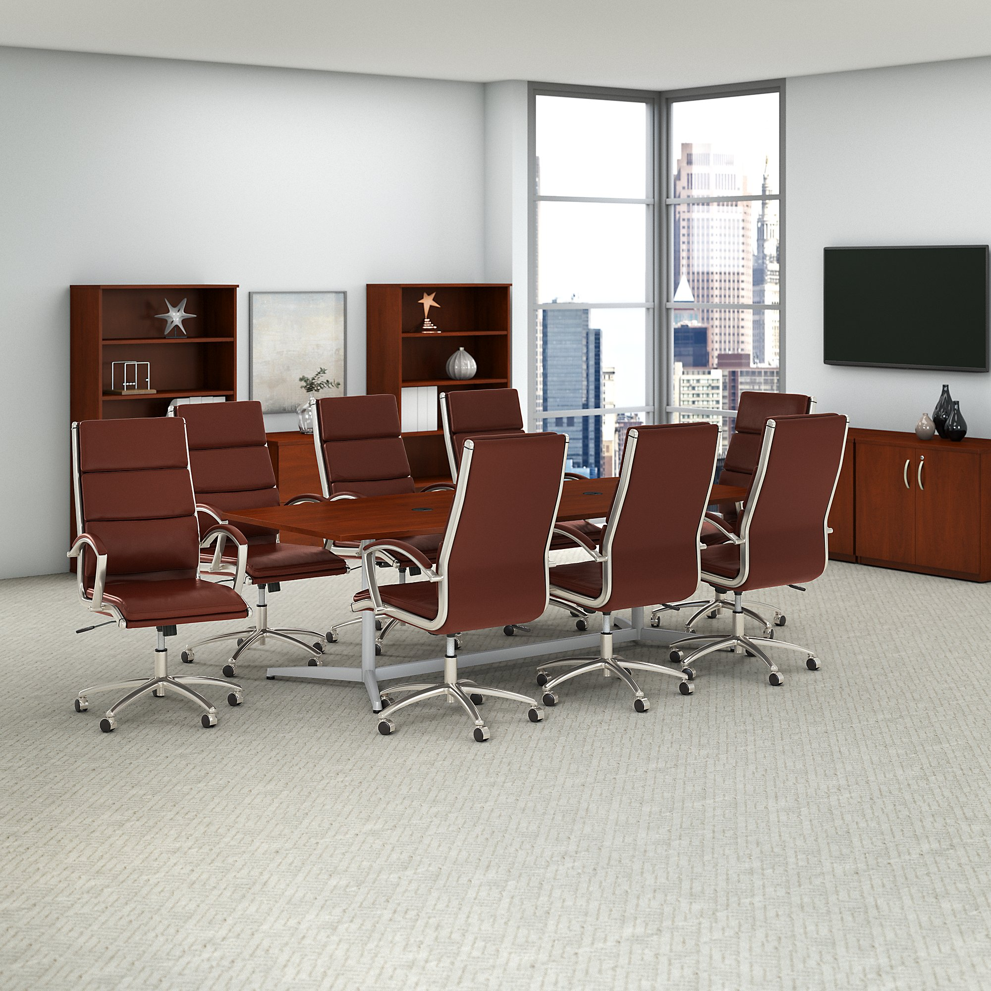 Bush Business Furniture 96w X 42d Boat Shaped Conference Table And Set Of 8 High Back Office Chairs