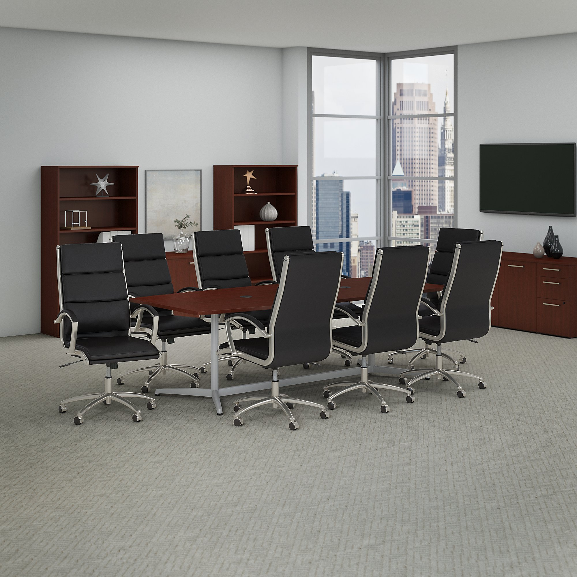 Outstanding Bush Business Furniture 96W X 42D Boat Shaped Conference Table And Set Of 8 High Back Office Chairs Download Free Architecture Designs Intelgarnamadebymaigaardcom