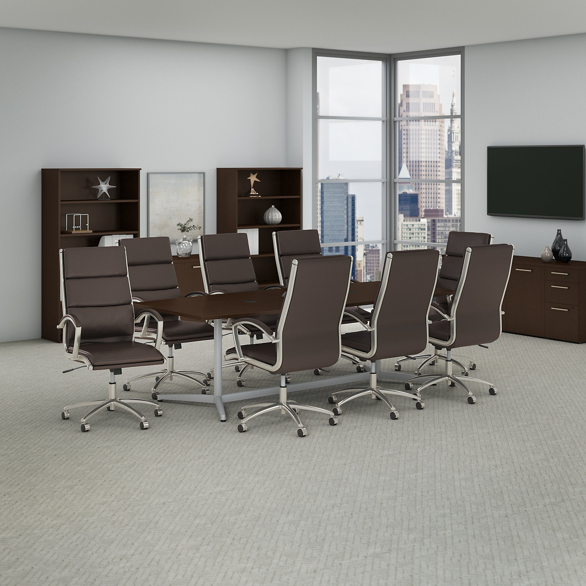 bush business furniture conference table and chair set in mocha cherry