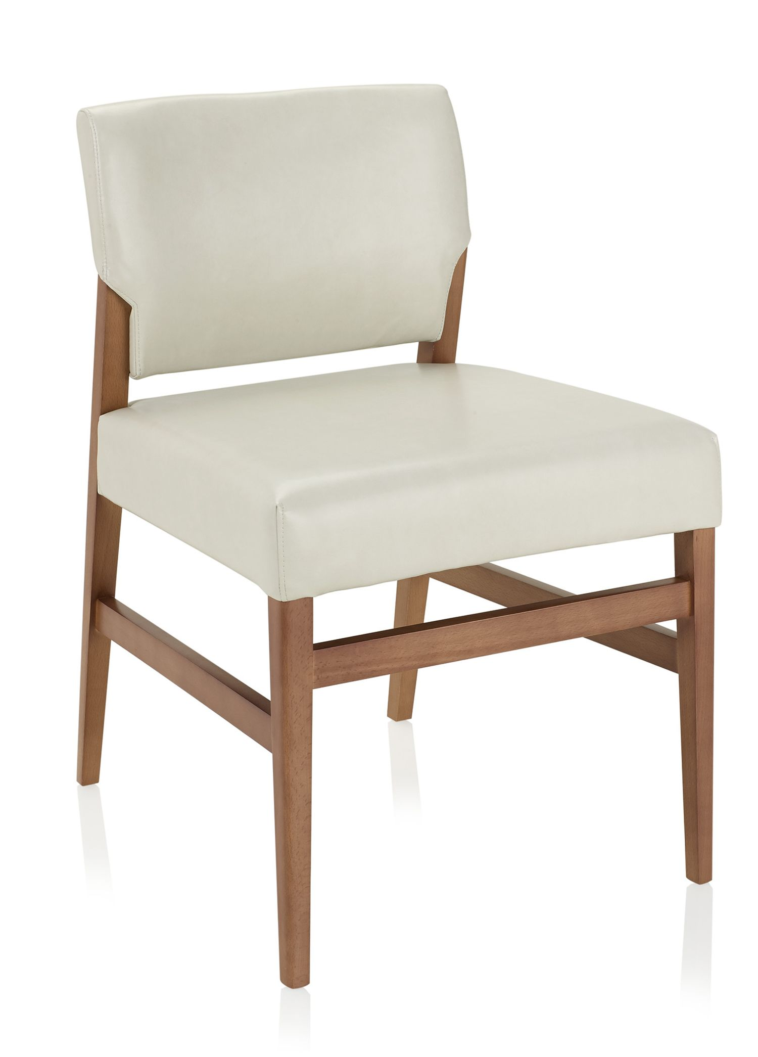 affina armless leather and wood guest chair