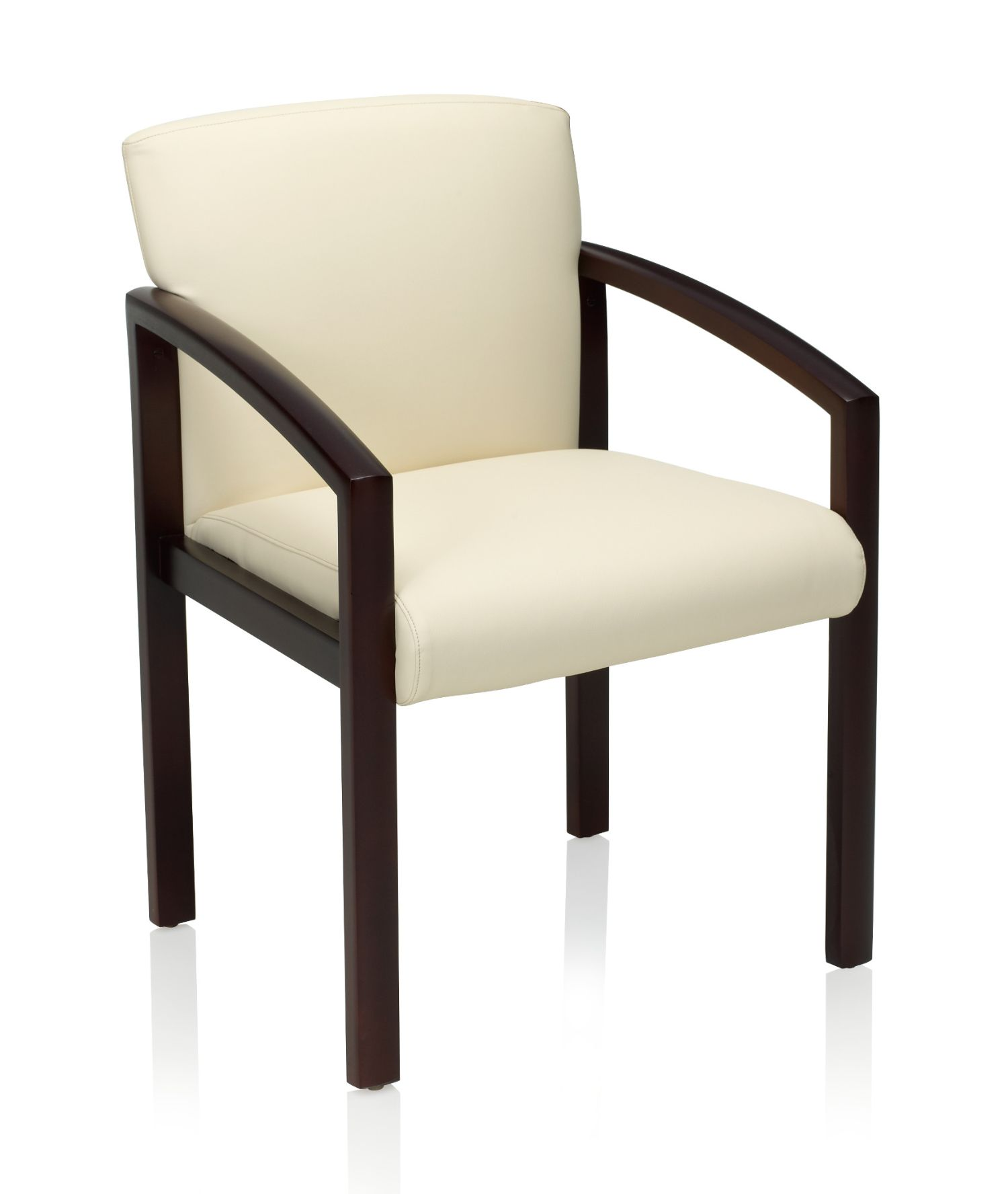 ki bantam leather and wood guest chair