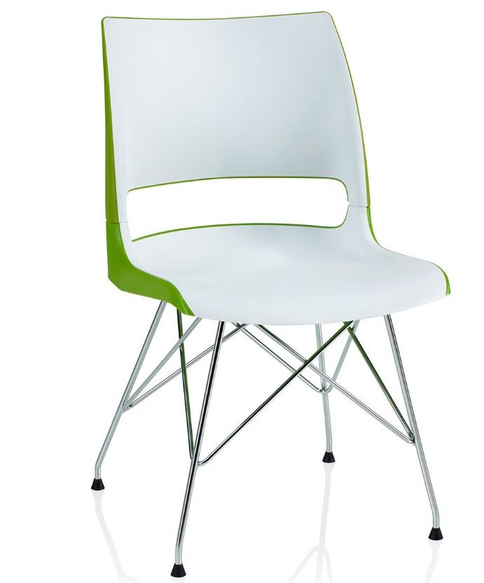 ki doni two tone guest chair with wire tower base