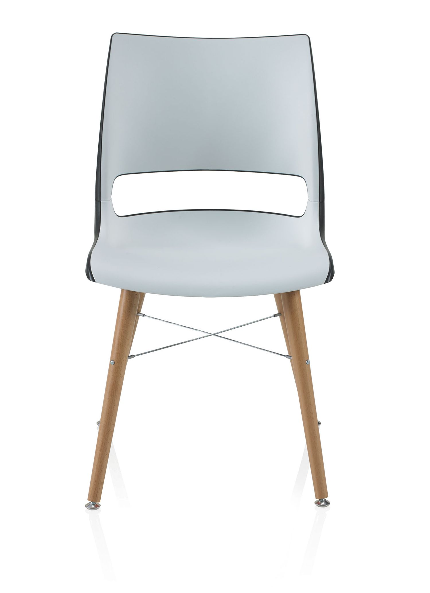 ki doni tapered wood leg guest chair with two tone shell