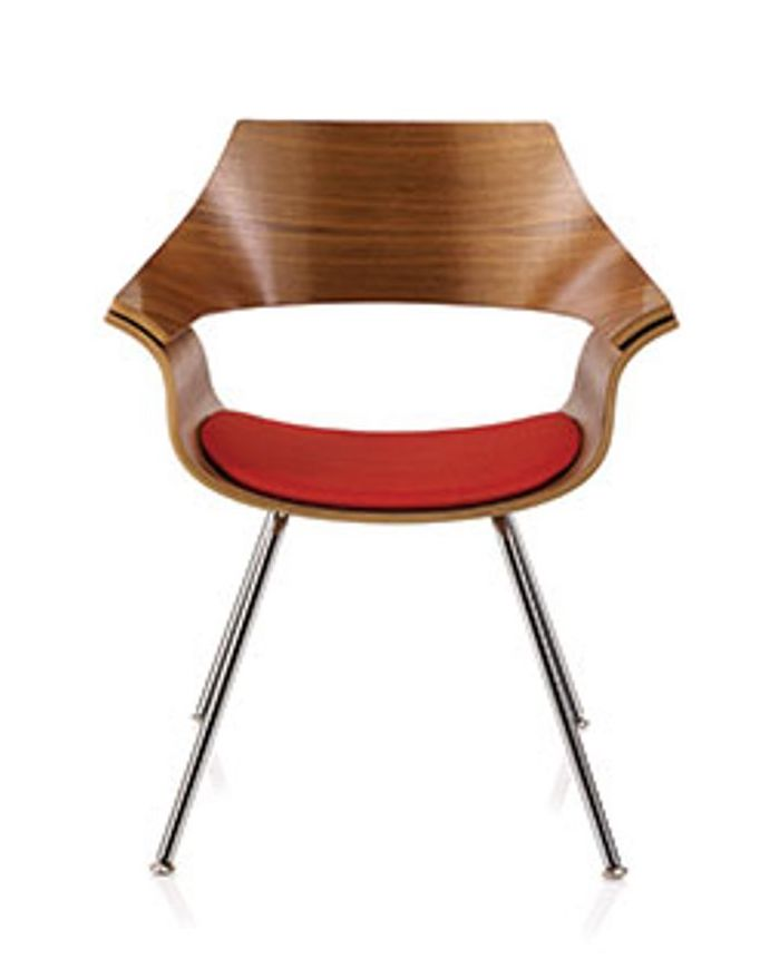 ki itoki dp curved wood back guest chair with red seat