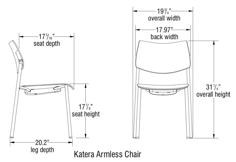 katera armless chair dimensions