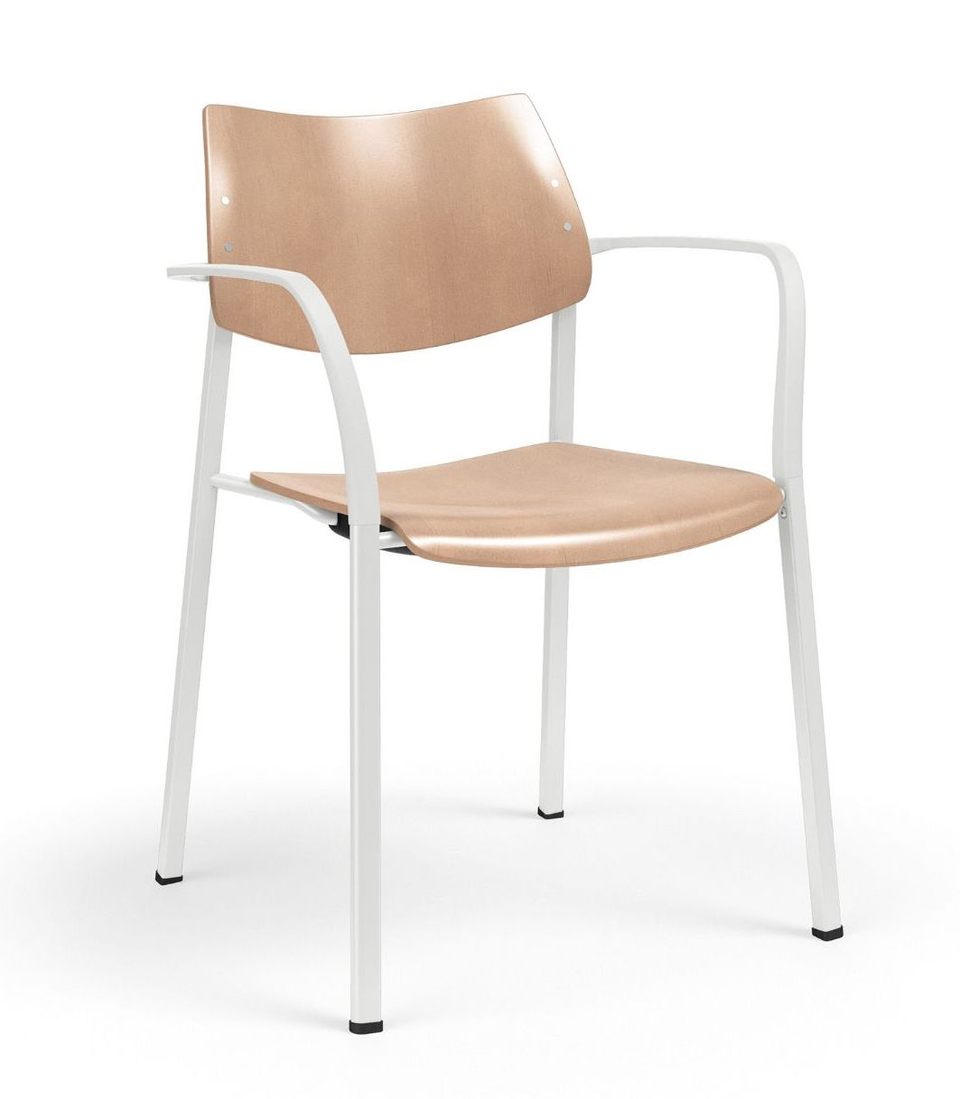 ki katera stackable wood guest chair with arms
