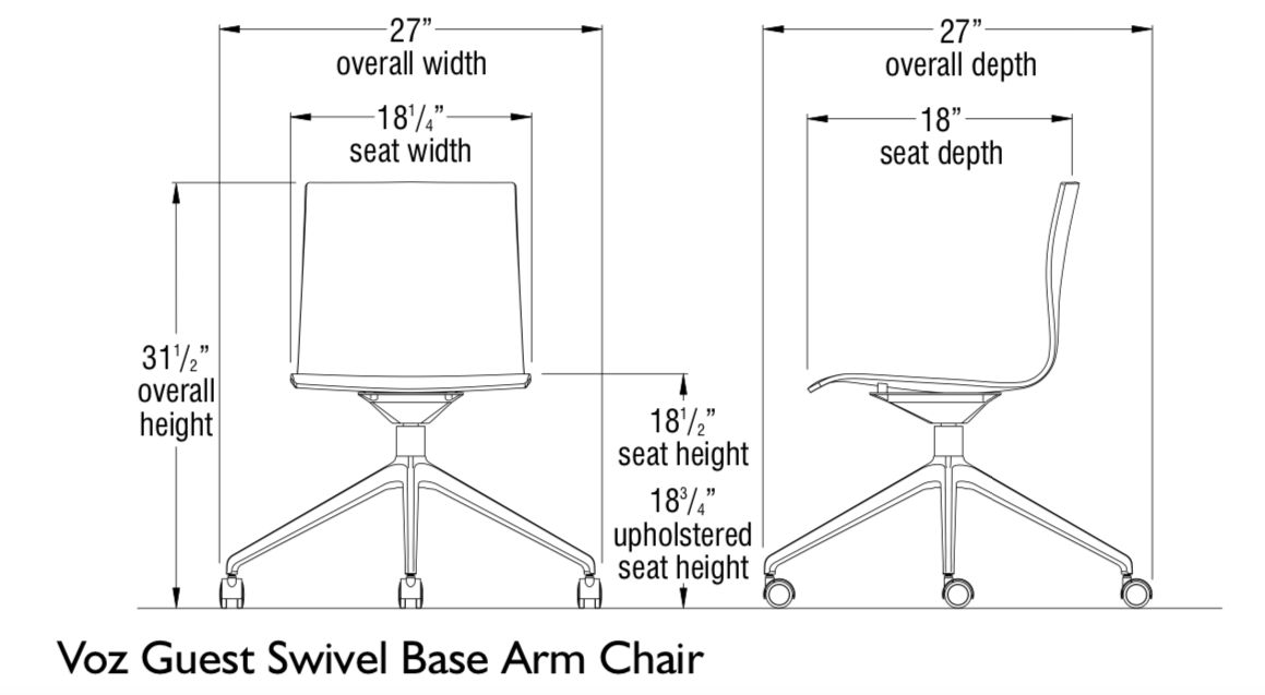 voz armless swivel chair dimensions