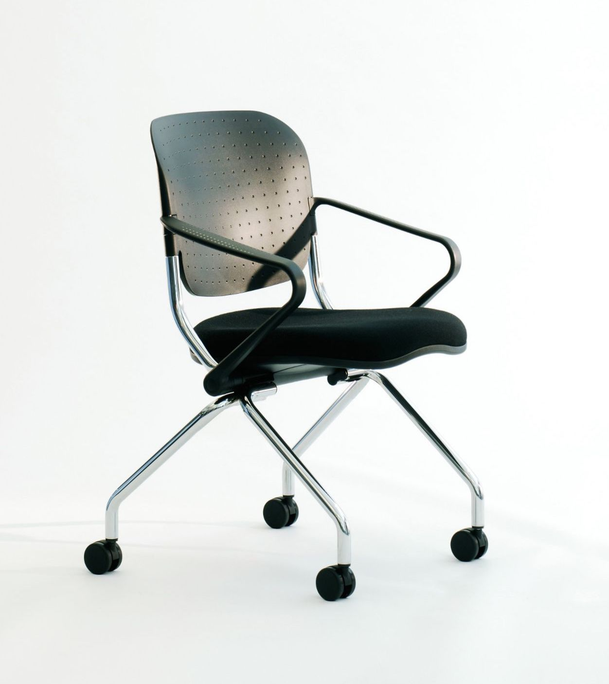 torsion on the go upholstered flip seat nesting chair with arms and poly back
