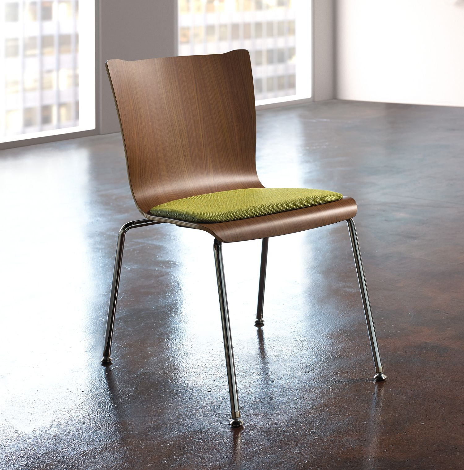 ki apply wood chair with upholstered seat pad