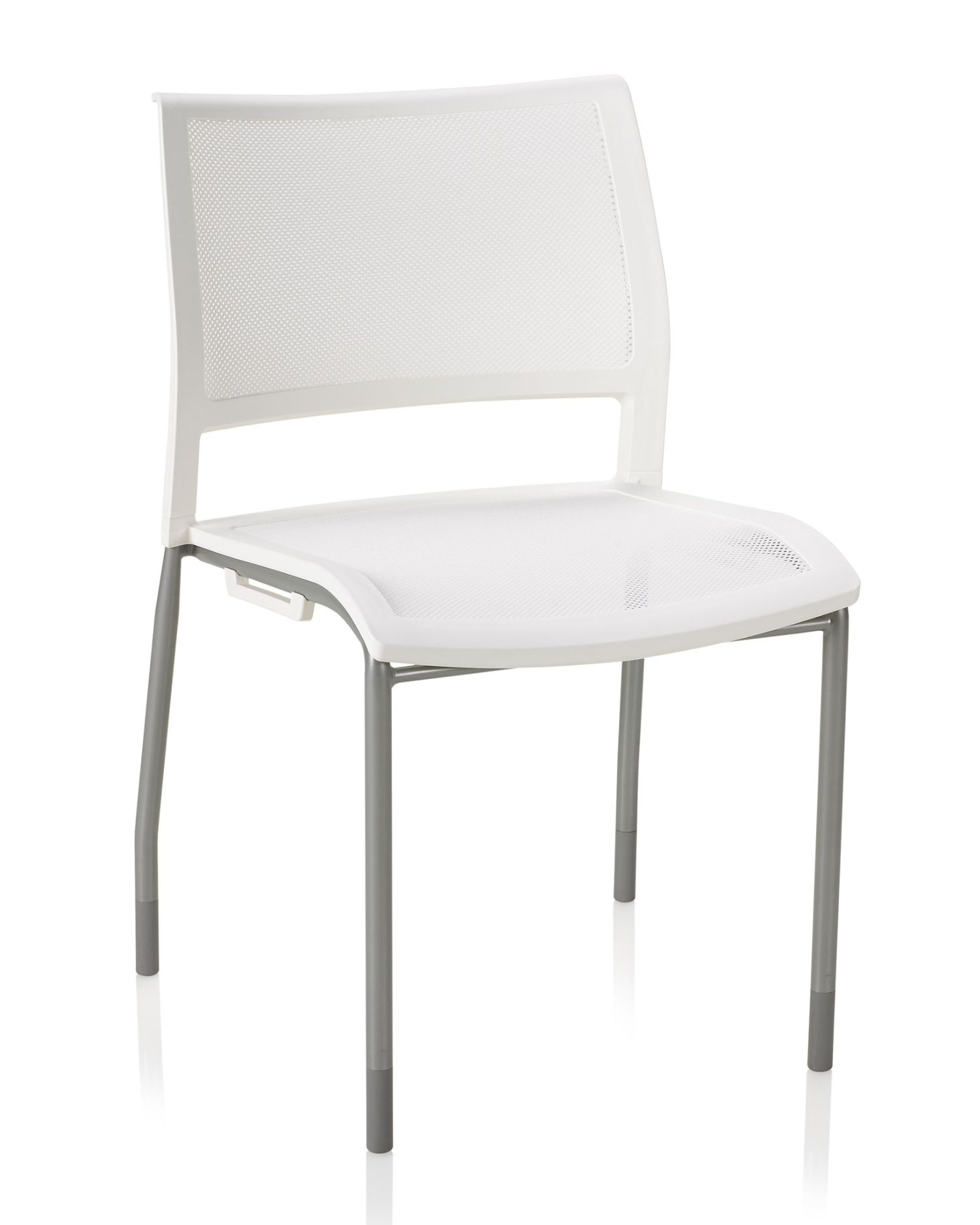 ki opt4 white stack chair with mesh seat and back