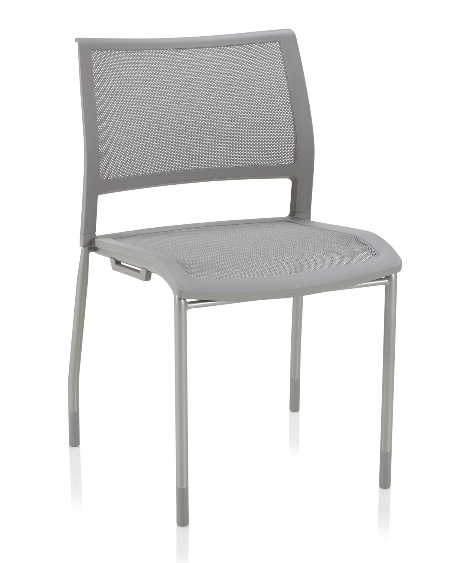 ki opt4 stone grey stack chair with mesh seat and back