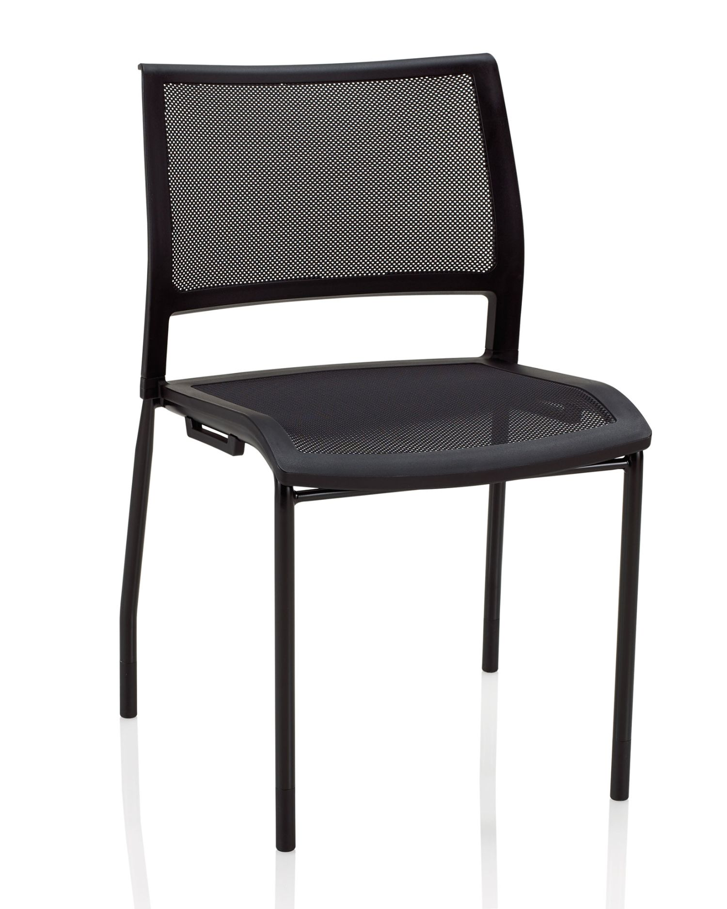 ki opt4 black stack chair with mesh seat and back