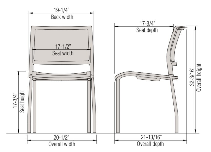 opt4 stack chair dimensions