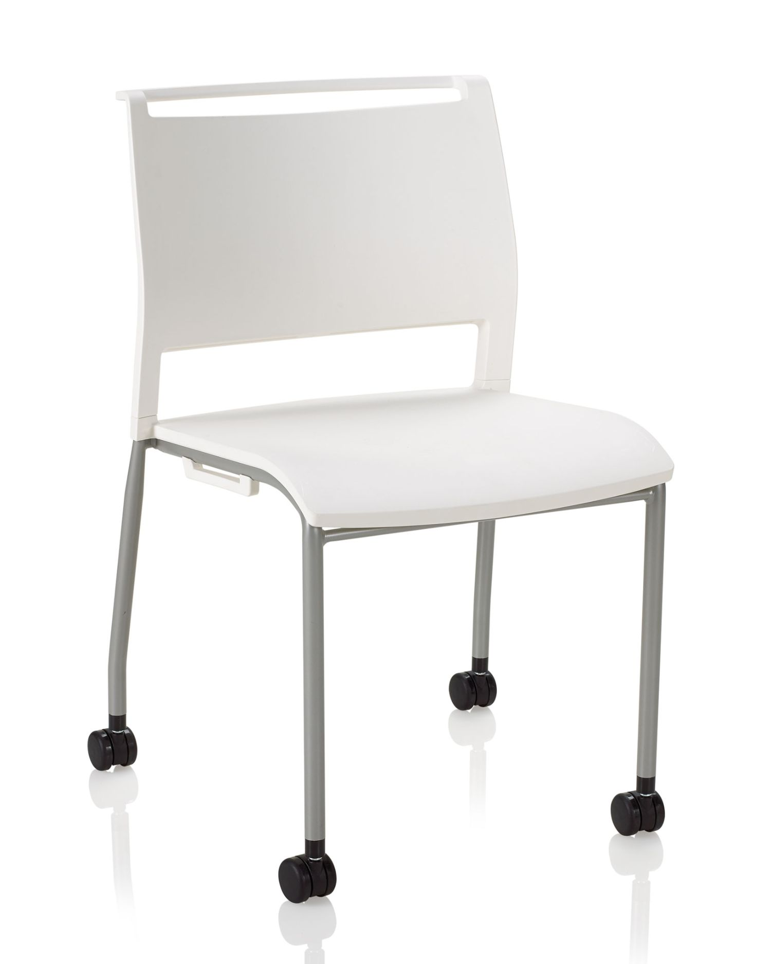 white opt4 mobile stack chair