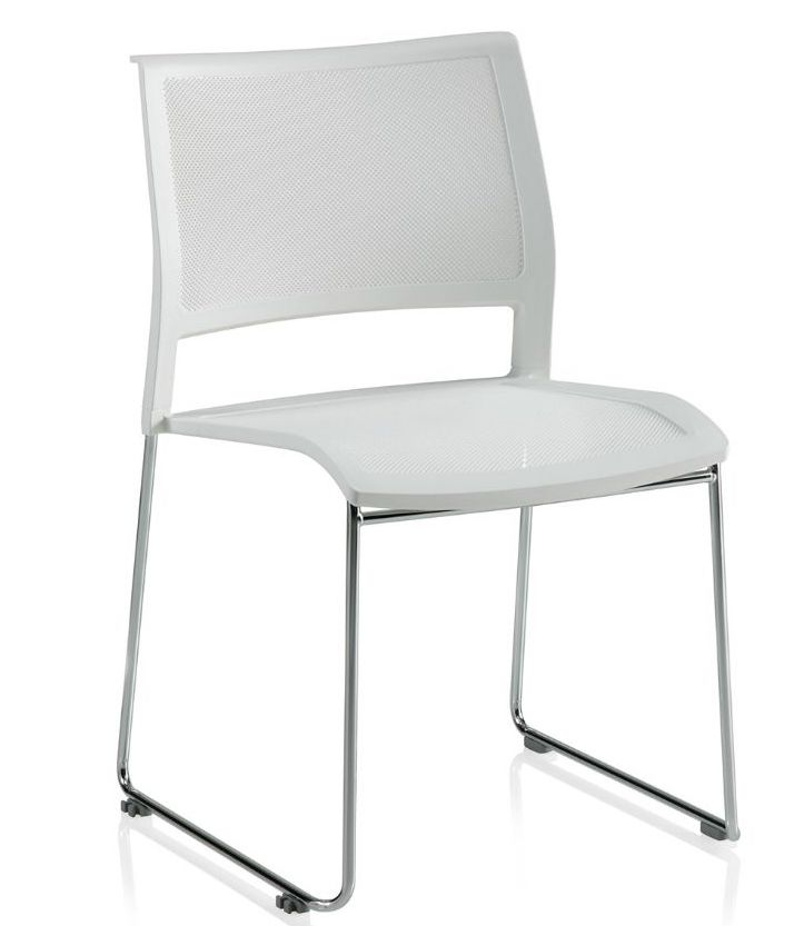 ki opt4 armless sled base stack chair in white