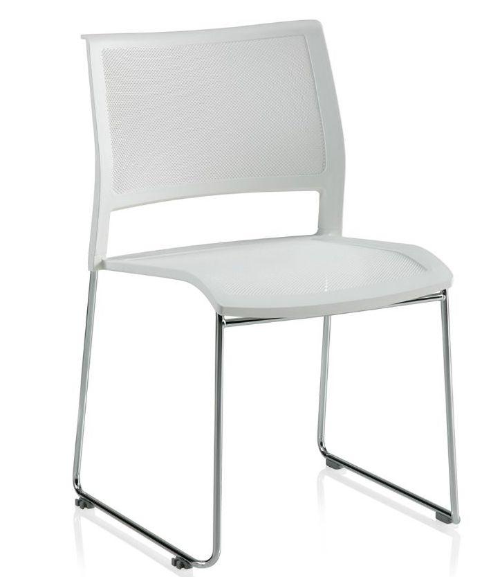 ki opt4 armless sled base stack chair in white