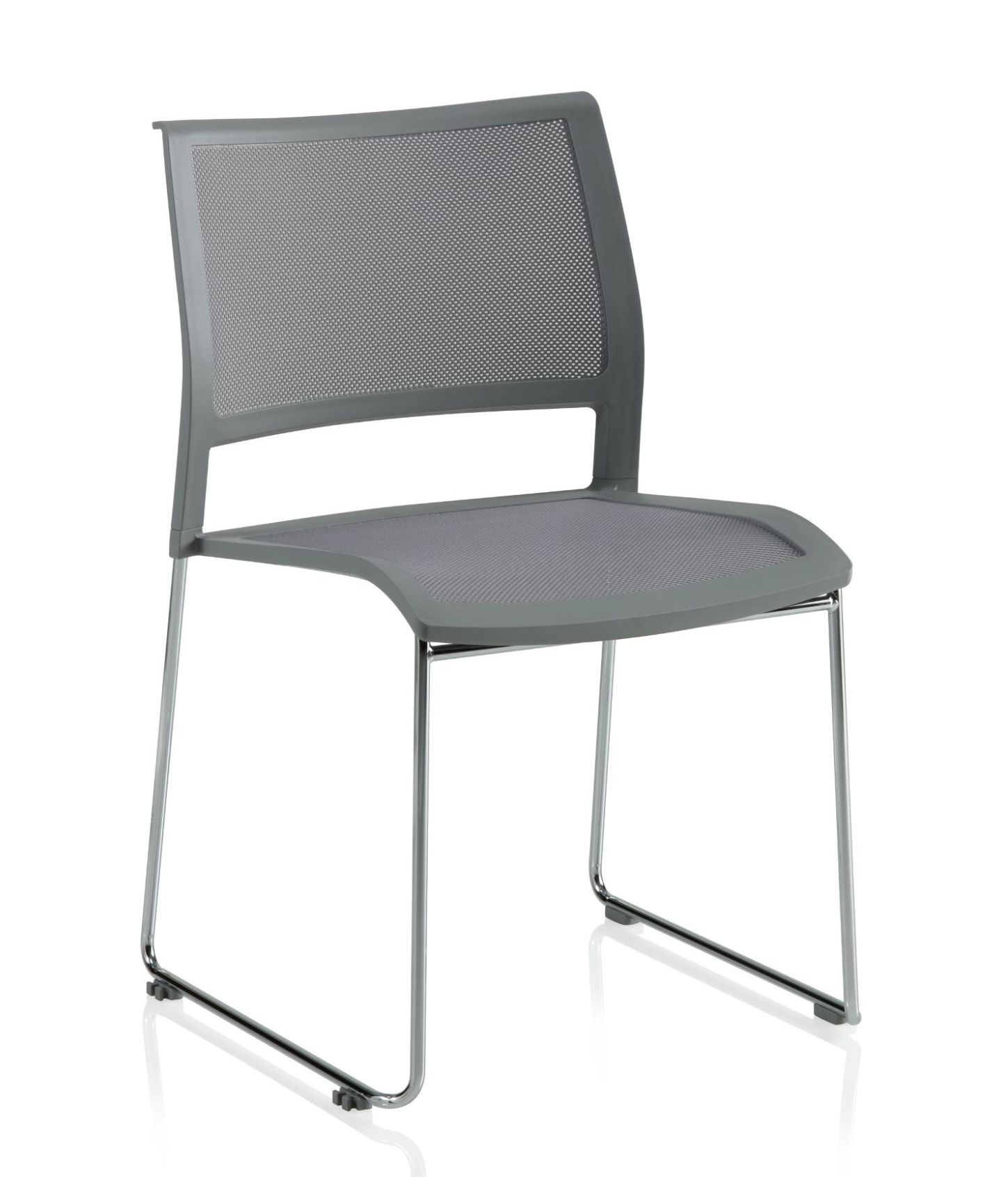 ki opt4 armless sled base stack chair in grey