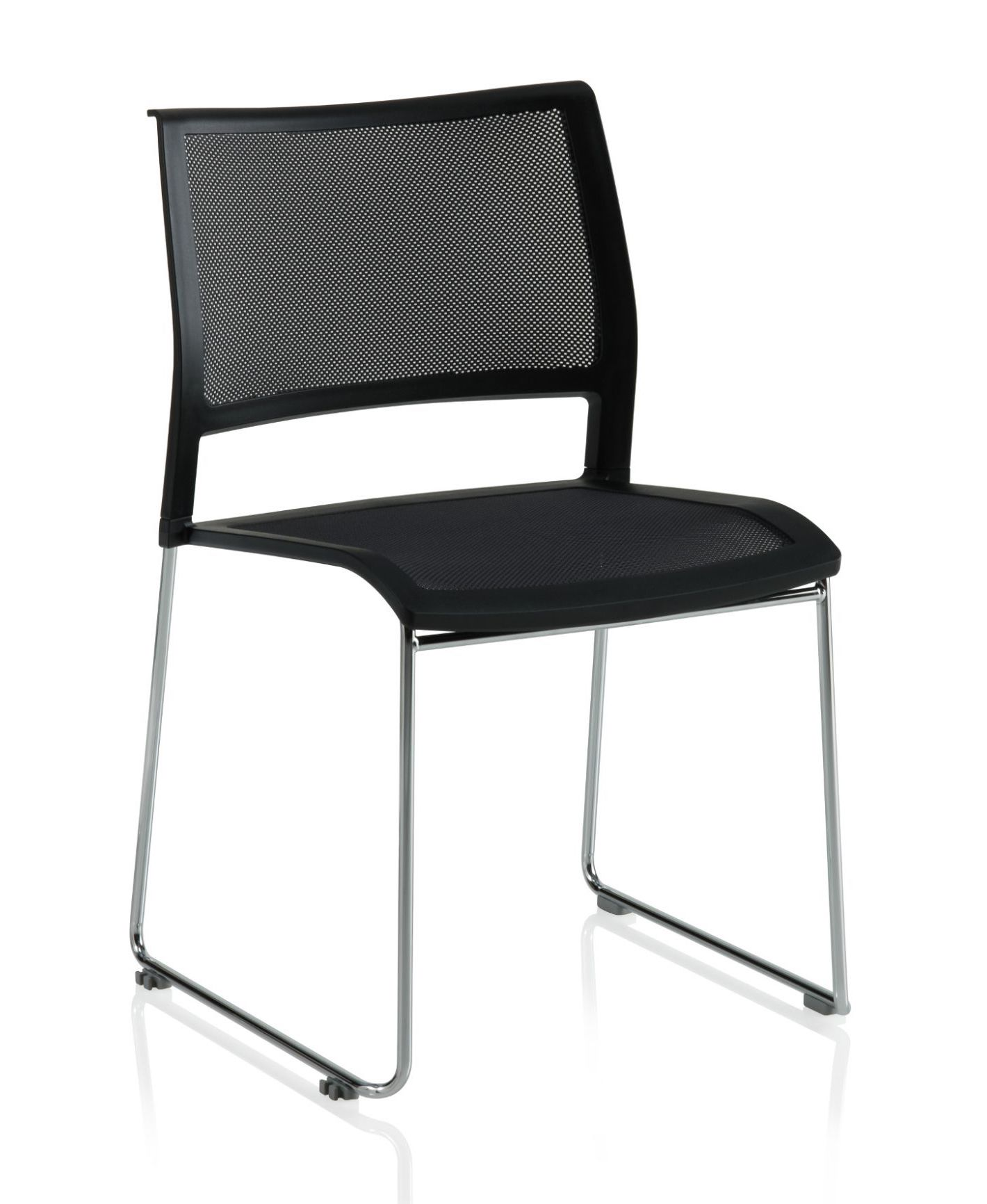 ki opt4 armless sled base stack chair in black