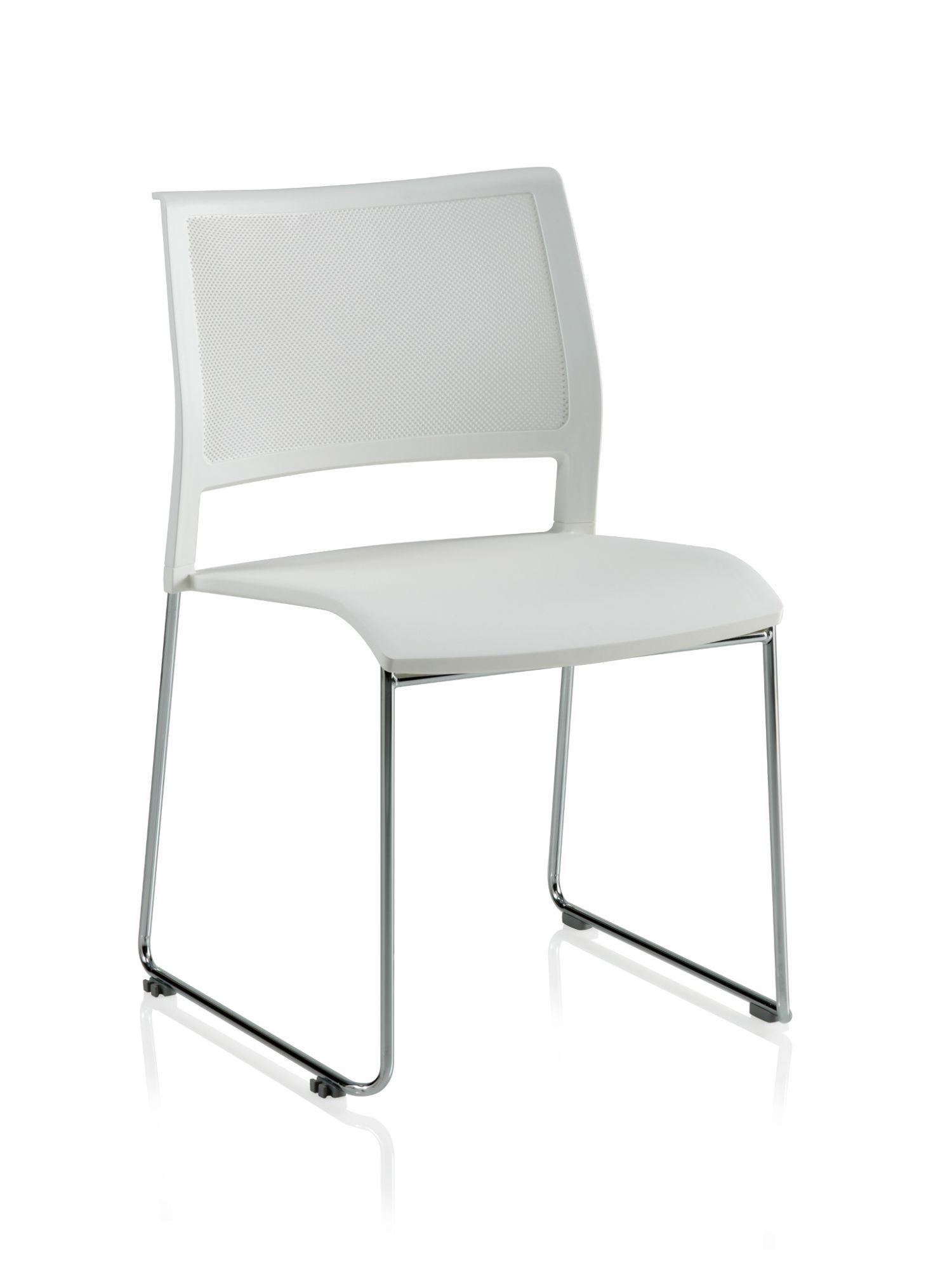 white opt4 sled base chair