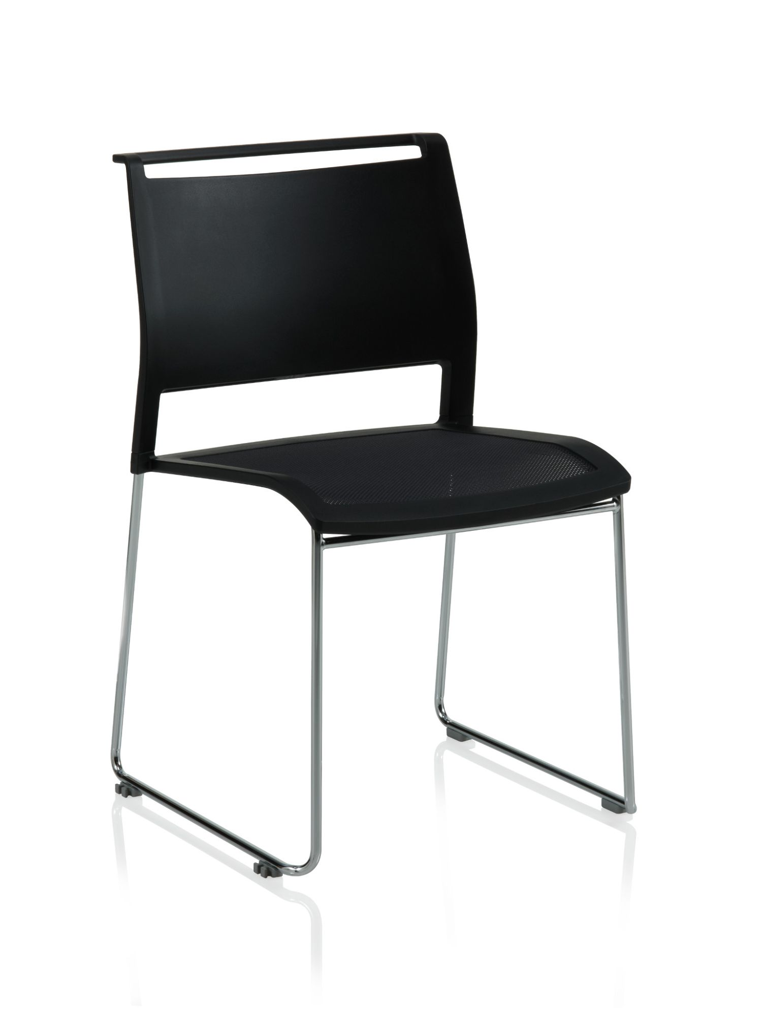 ki opt4 black sled base chair with poly back and mesh seat