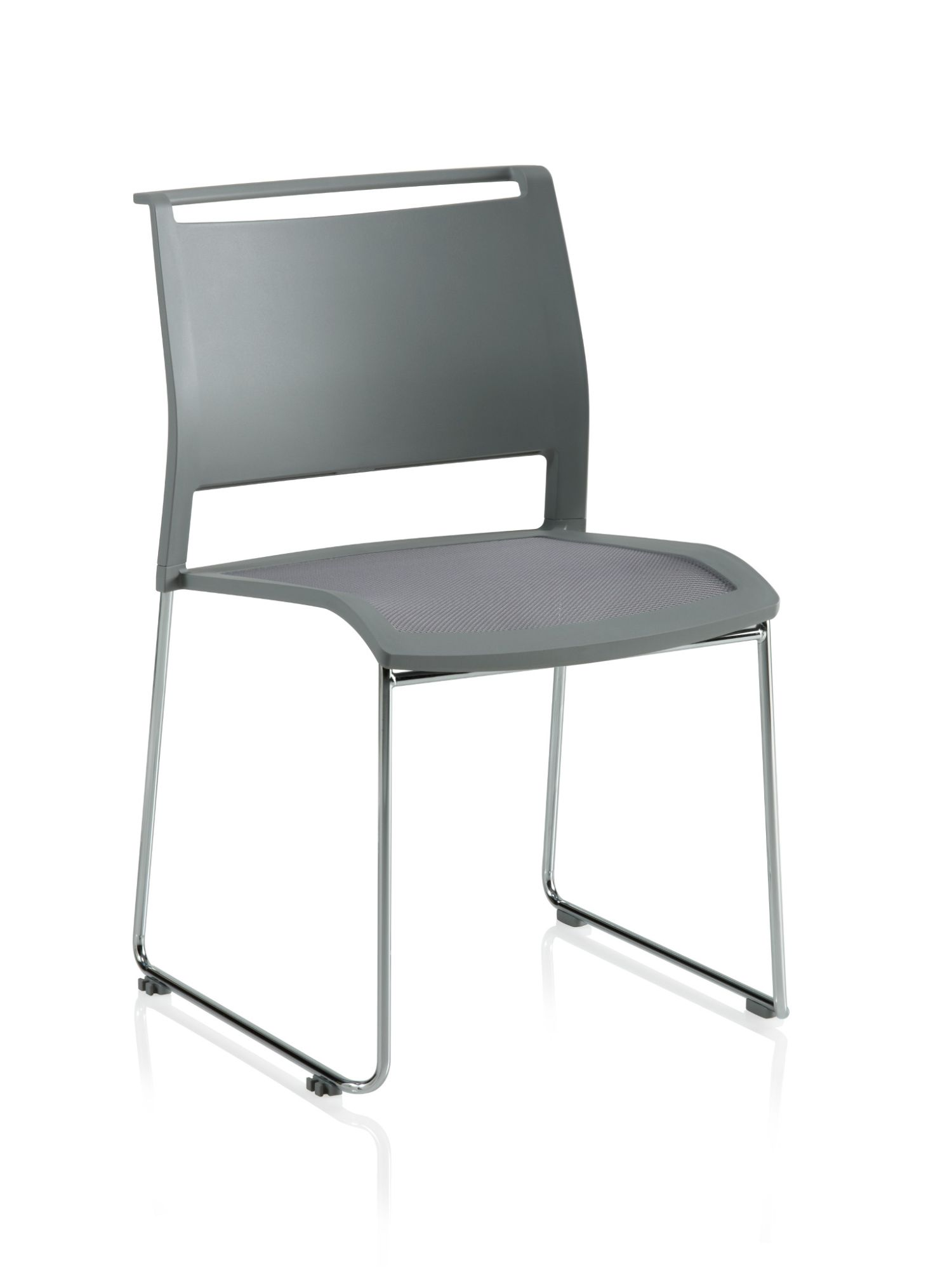ki opt4 stone grey sled base chair with poly back and mesh seat