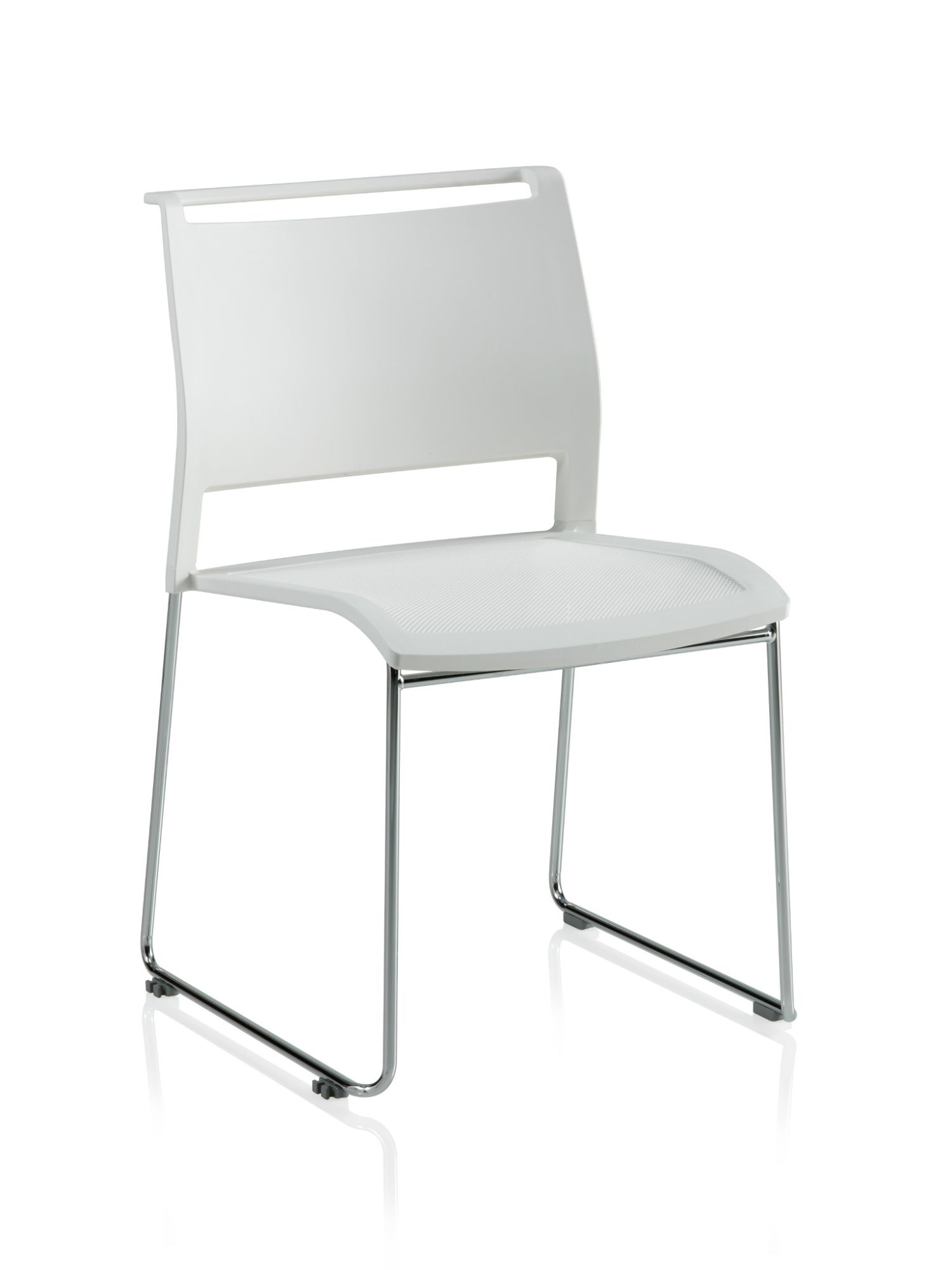 ki opt4 white sled base chair with poly back and mesh seat
