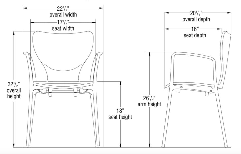 silhouette chair dimensions