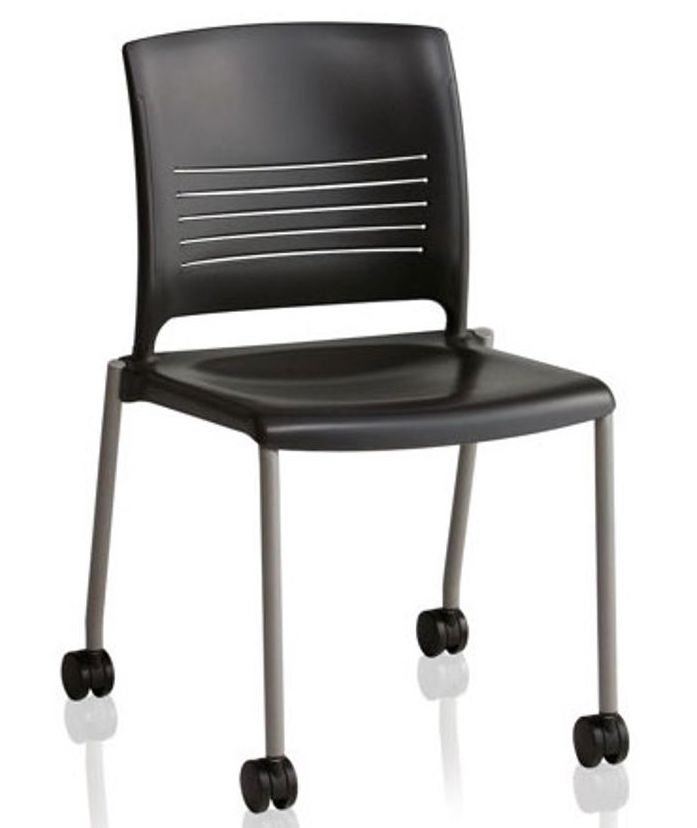 ki strive plastic training room chair with casters