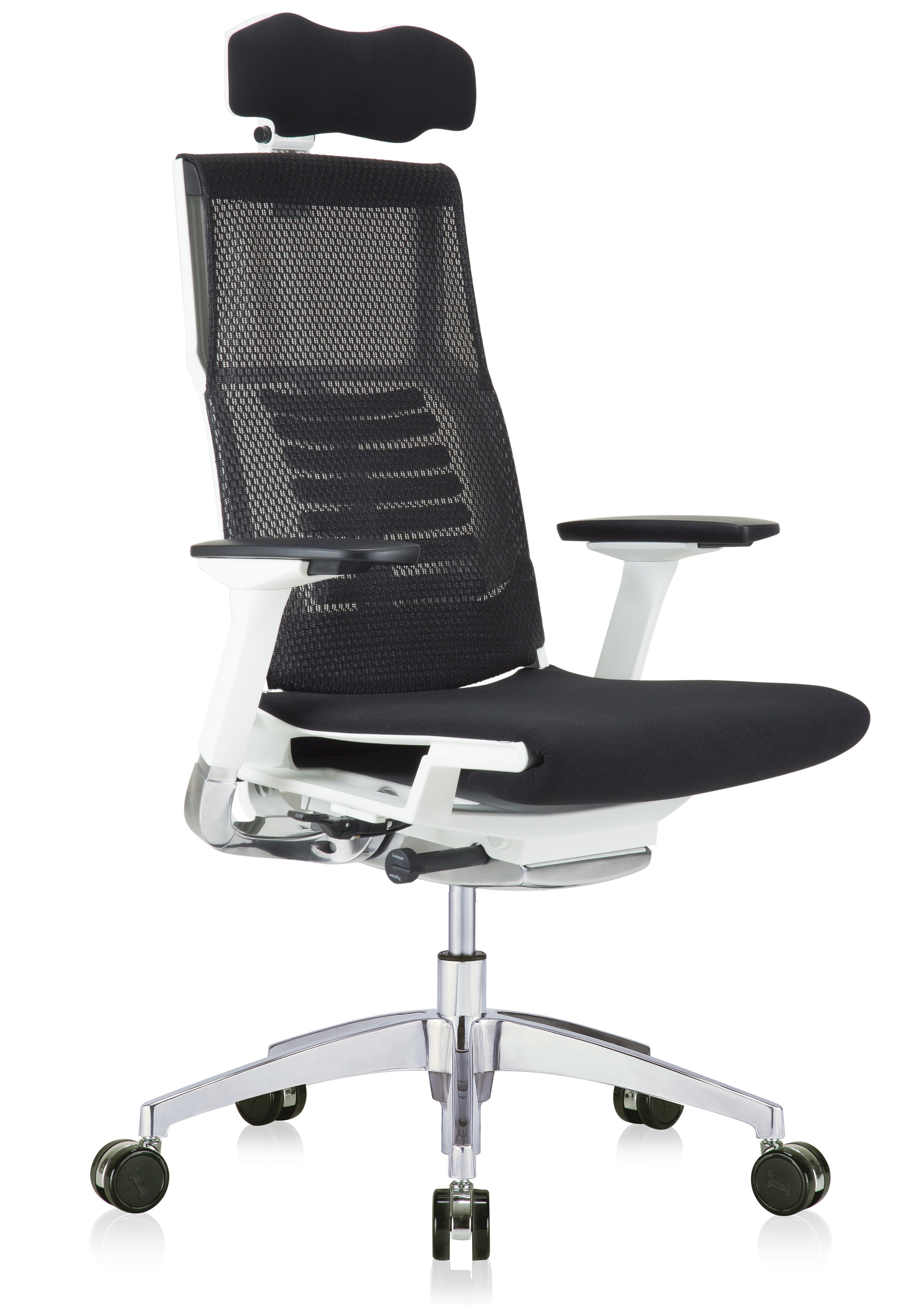 powerfit mesh back chair with black fabric seat and headrest