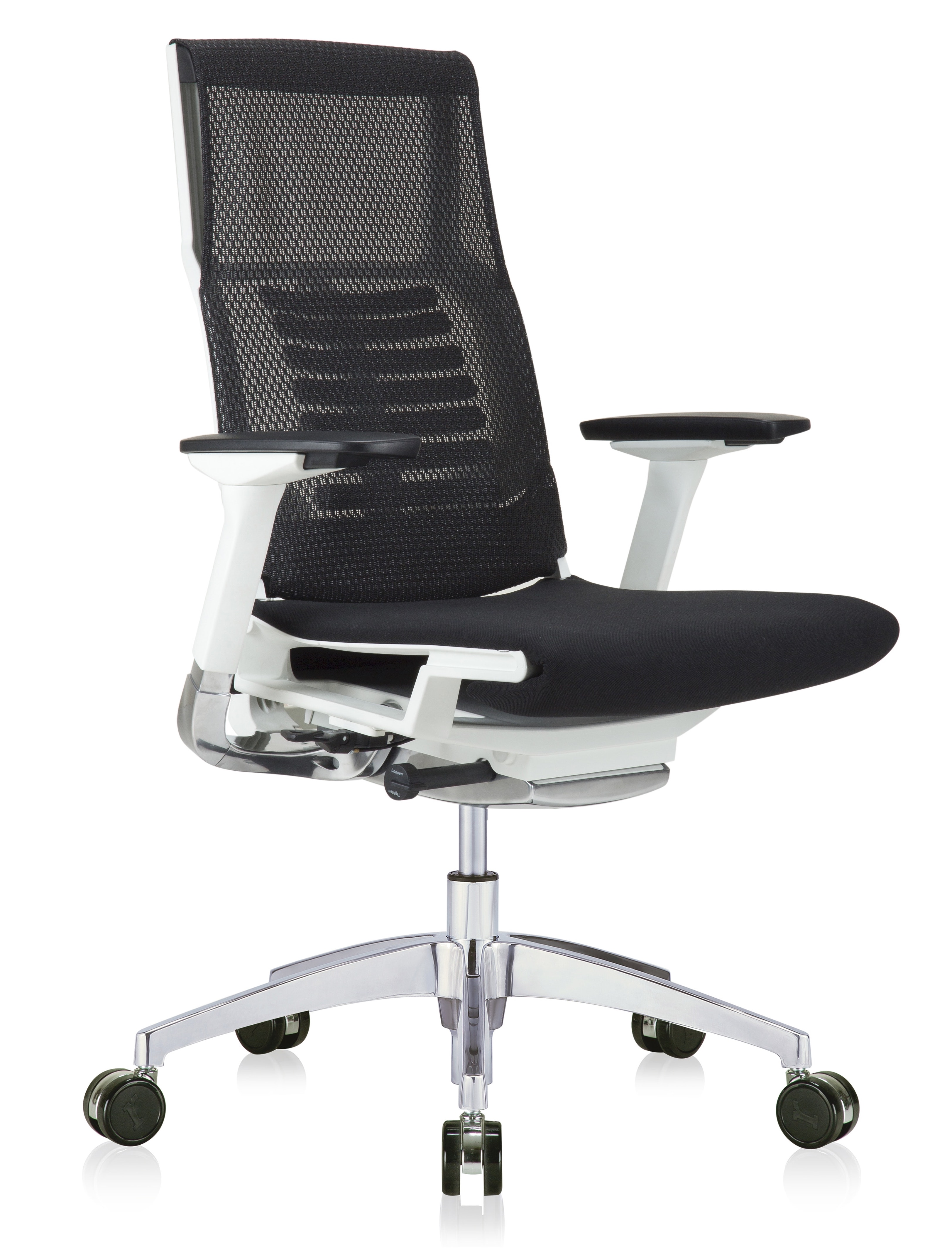 eurotech powerfit white frame office chair with black mesh back and fabric seat