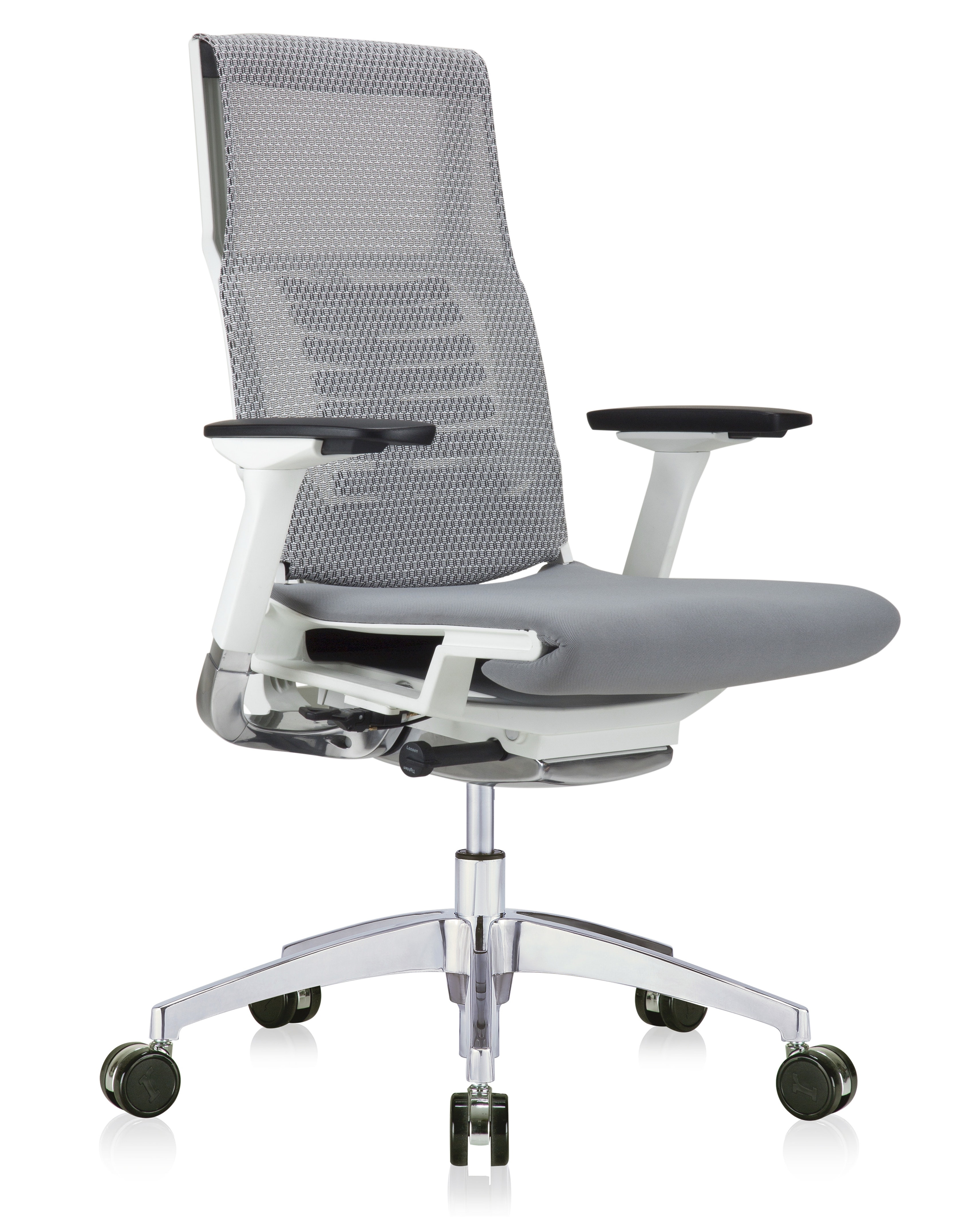eurotech powerfit white frame office chair with grey mesh back and fabric seat