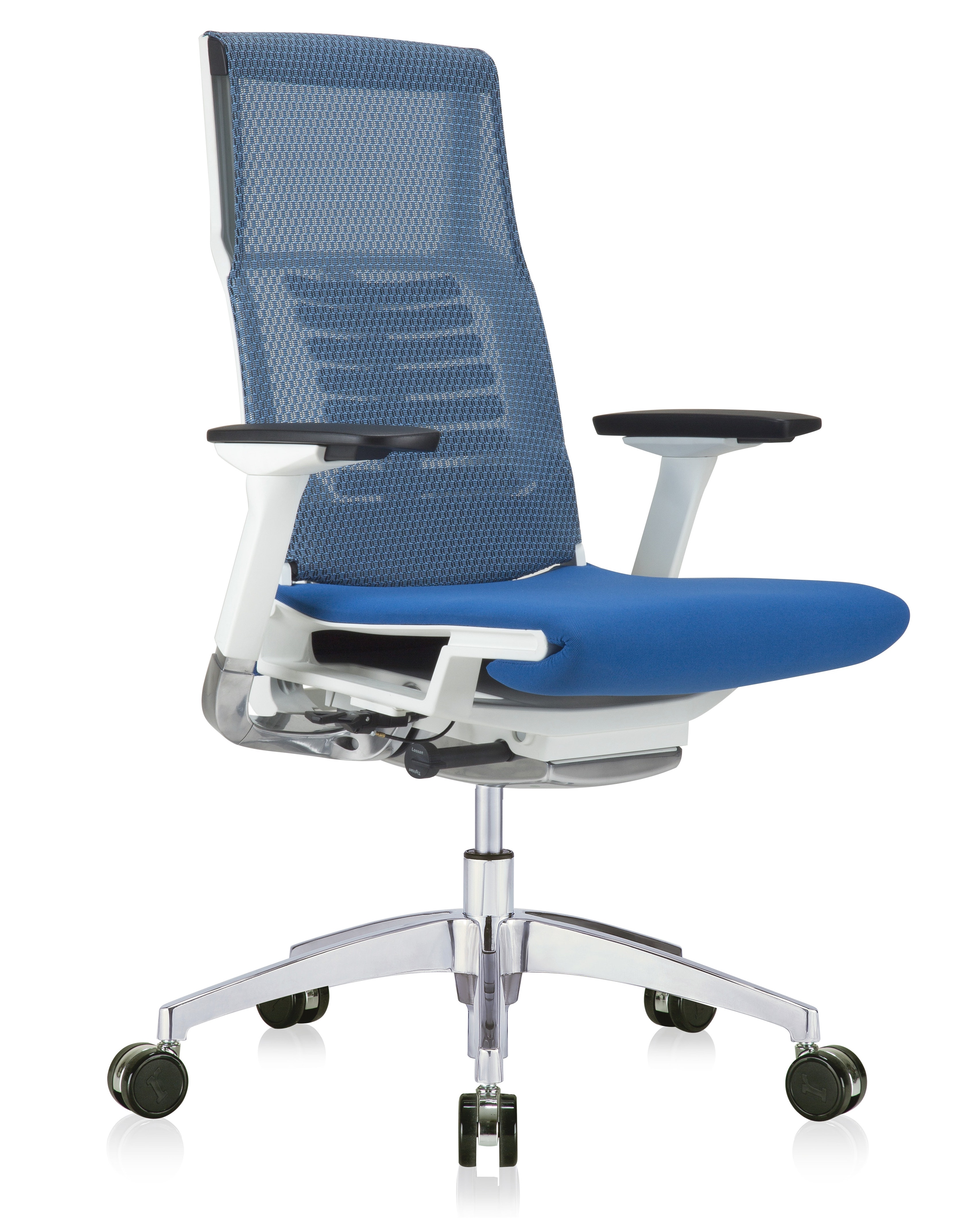 eurotech powerfit white frame office chair with blue mesh back and fabric seat