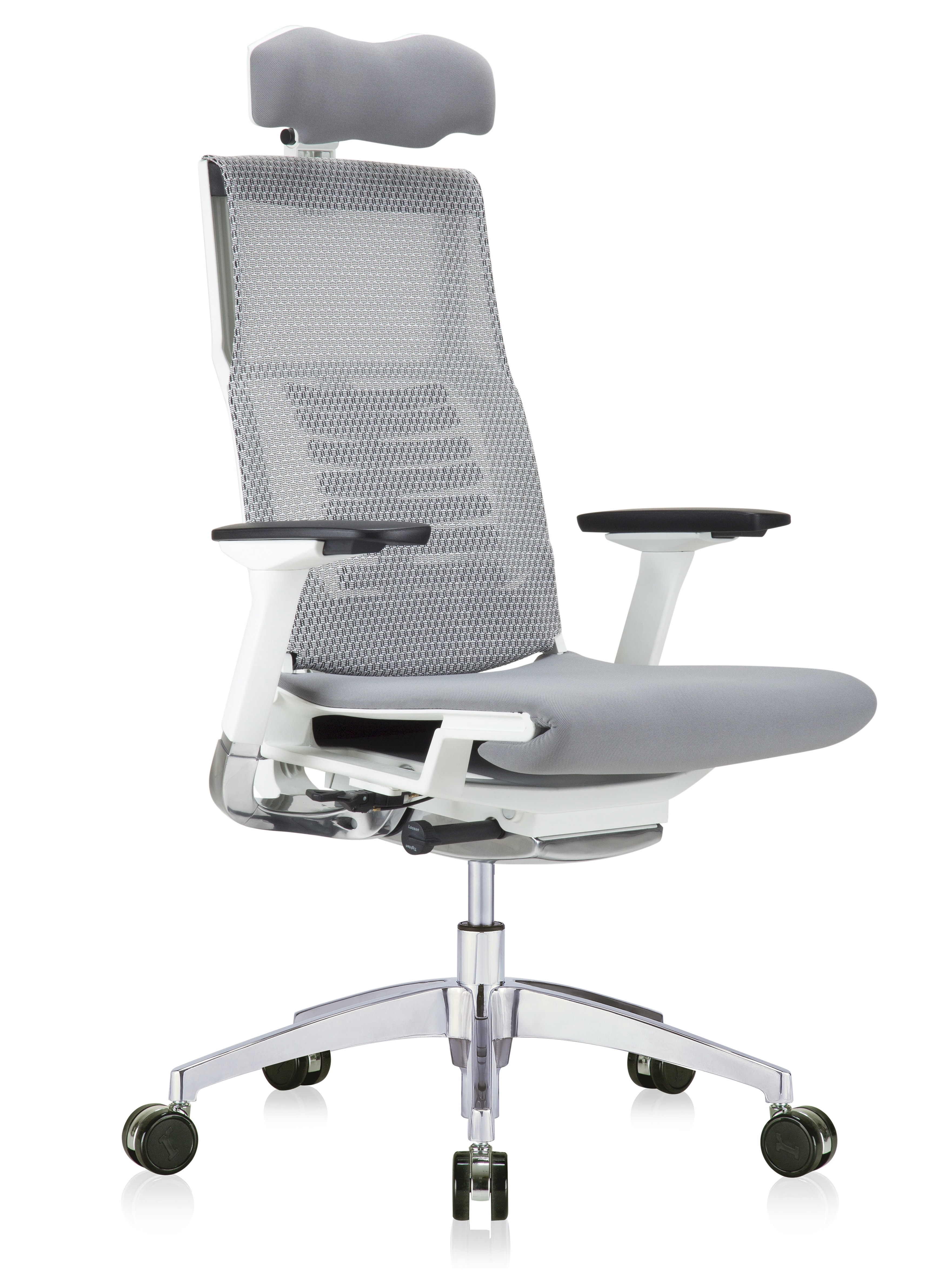 powerfit mesh back chair with grey fabric seat and headrest