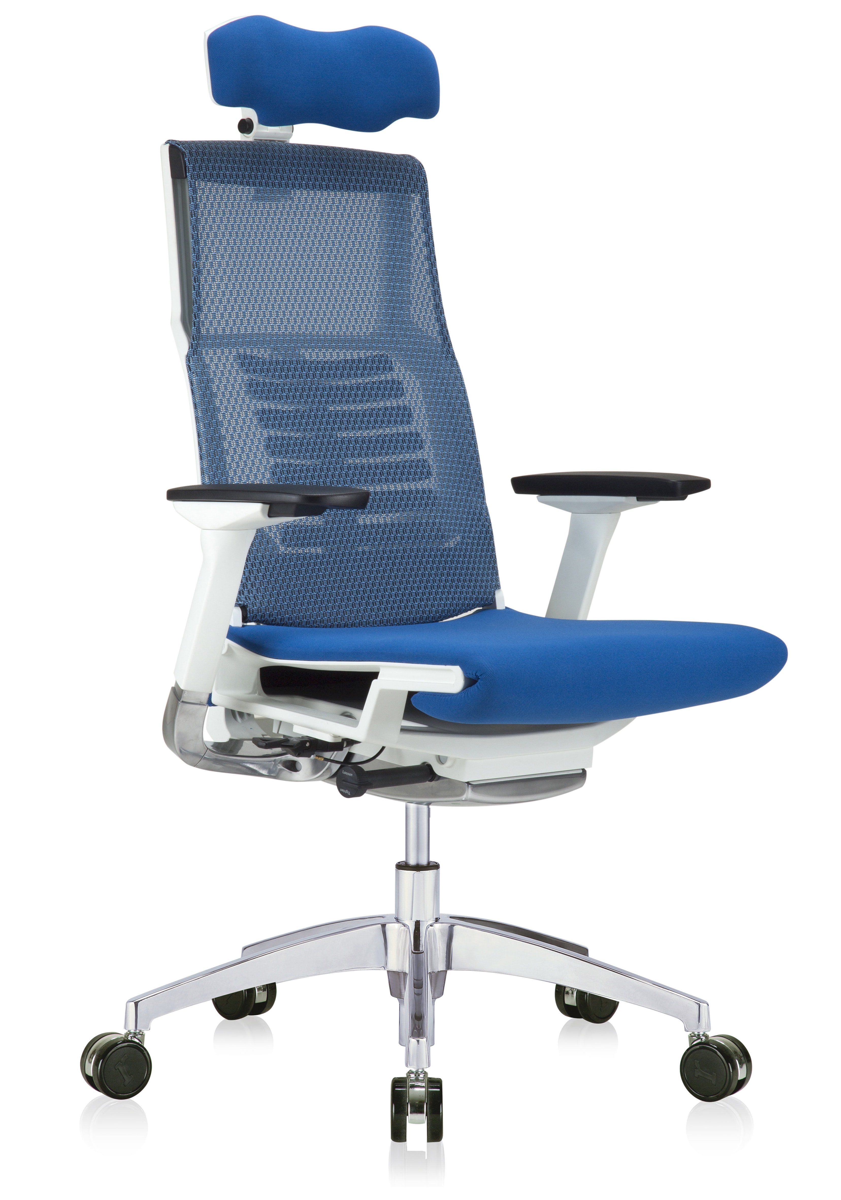 powerfit mesh back chair with blue fabric seat and headrest