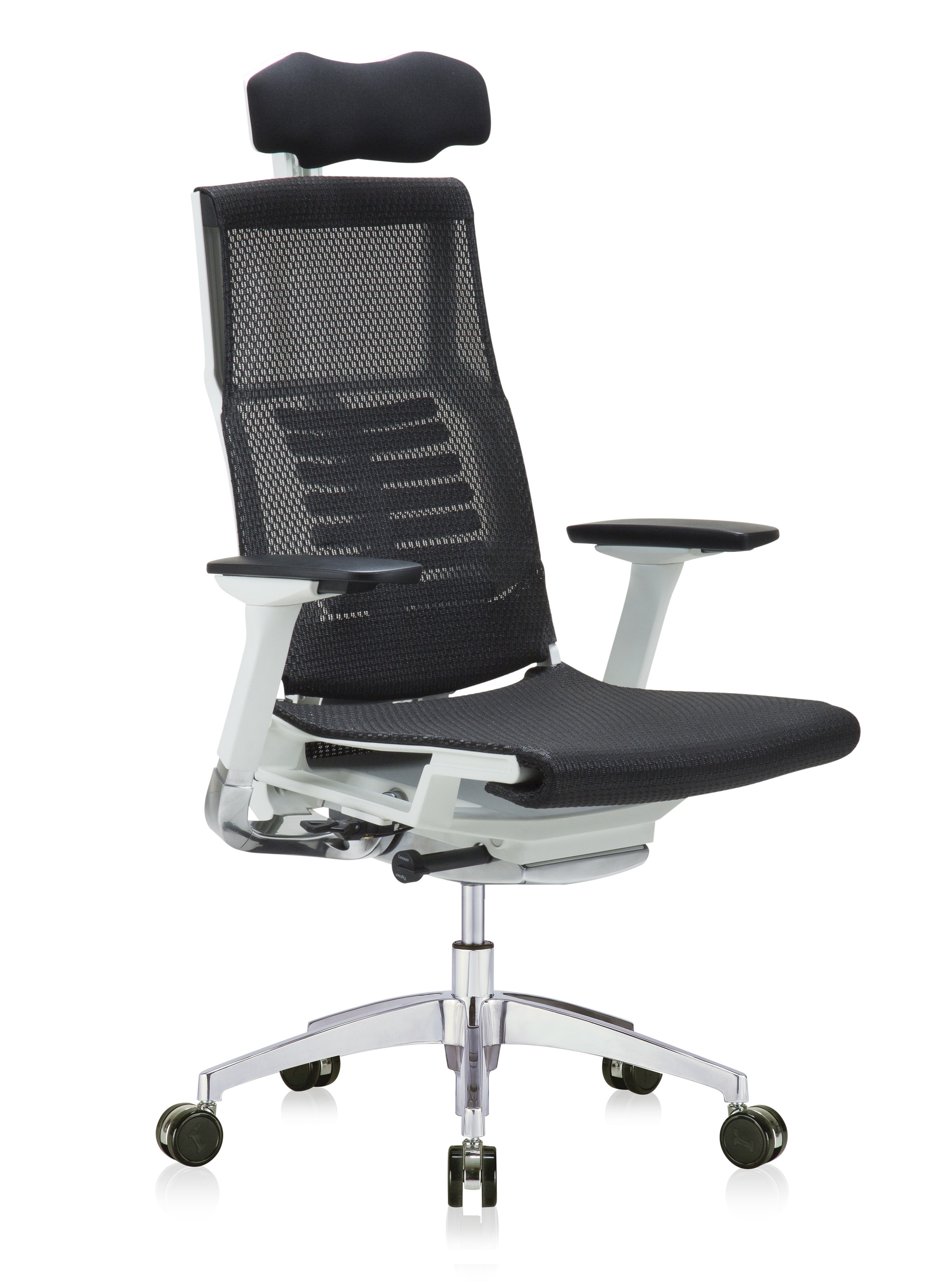 powerfit white frame office chair with headrest